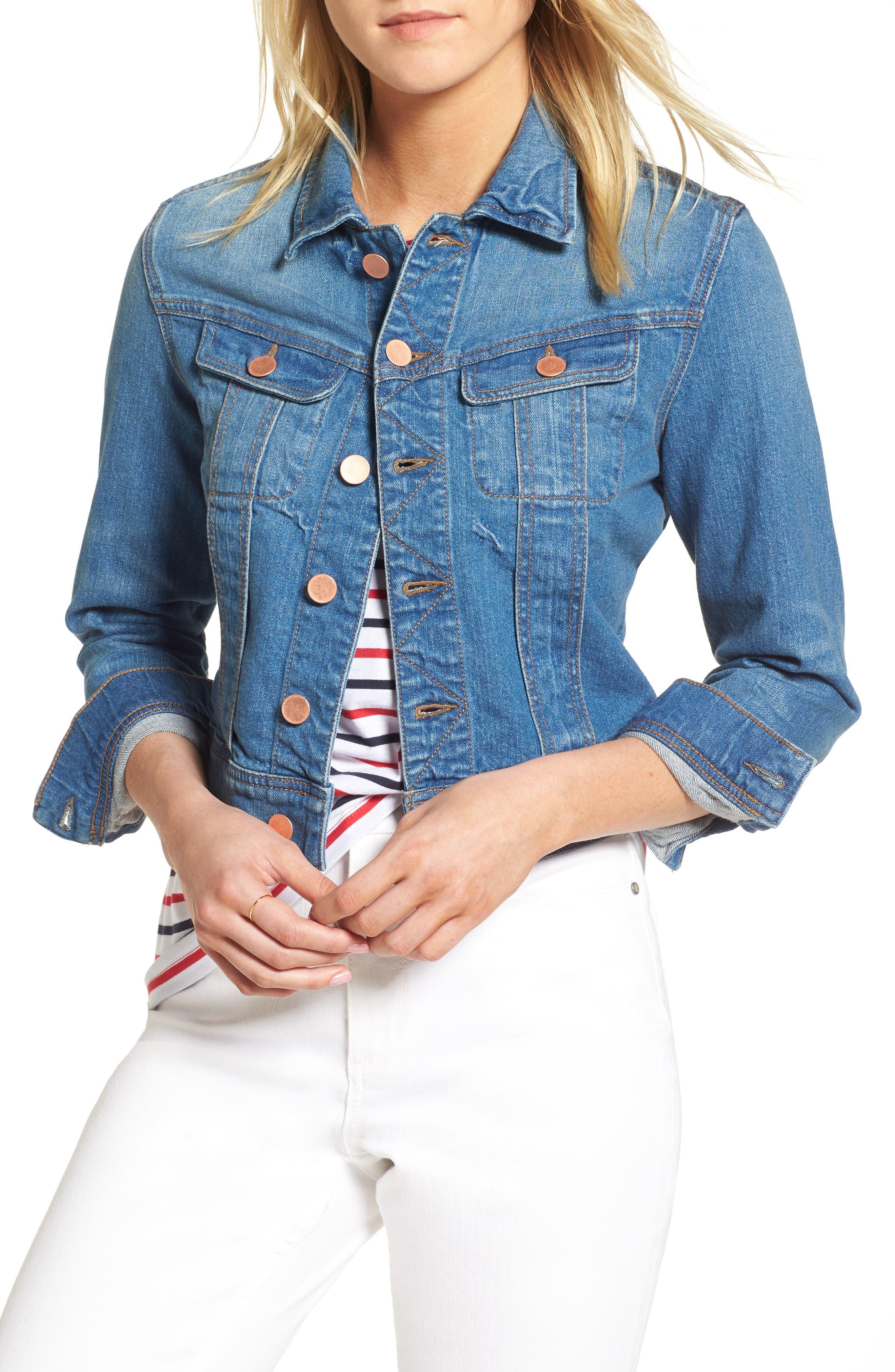 Crop Denim Jacket,                         Main,                         color, Weekend Wash