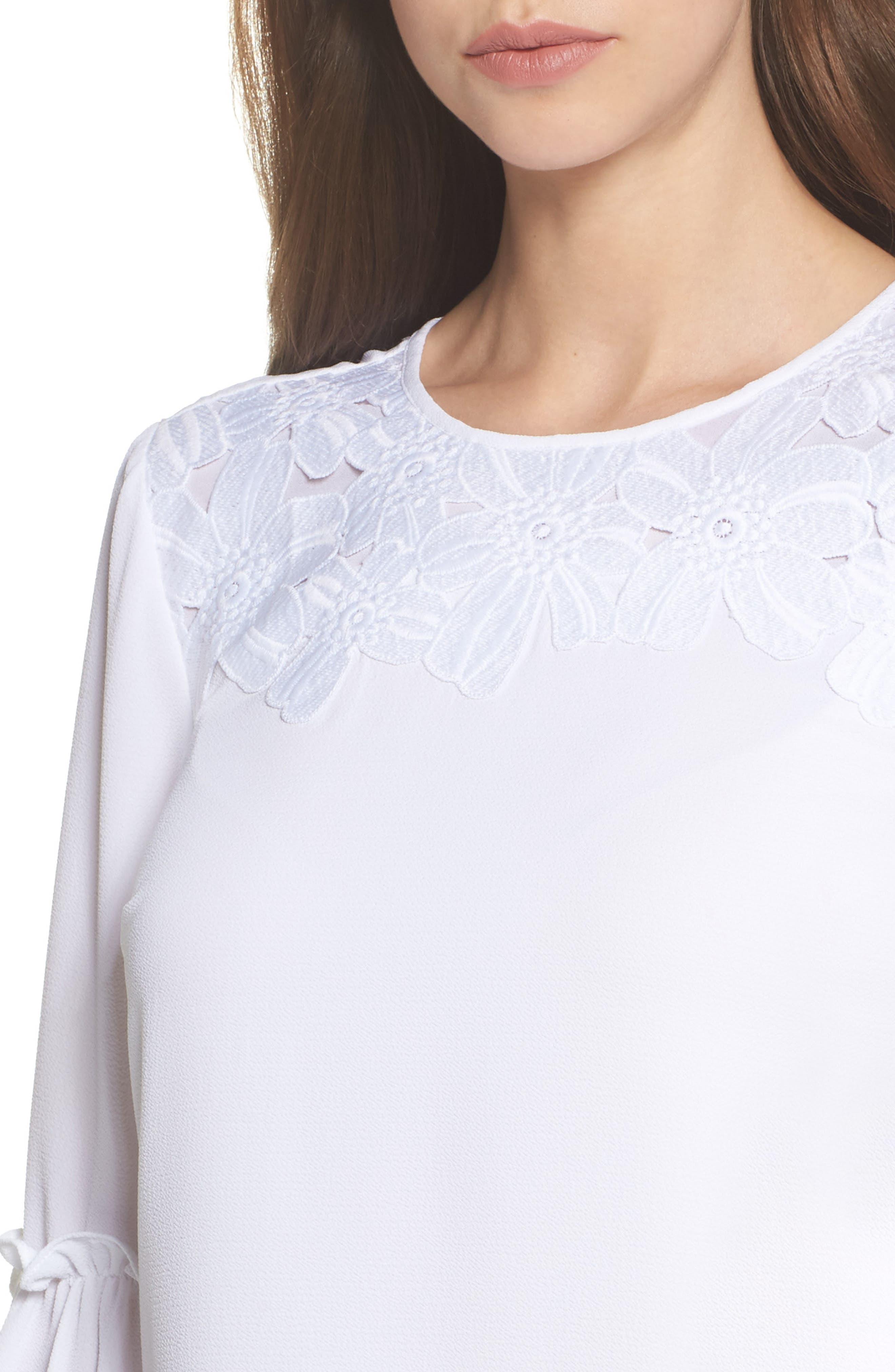 Lace Appliqué Bell Sleeve Dress,                             Alternate thumbnail 4, color,                             White
