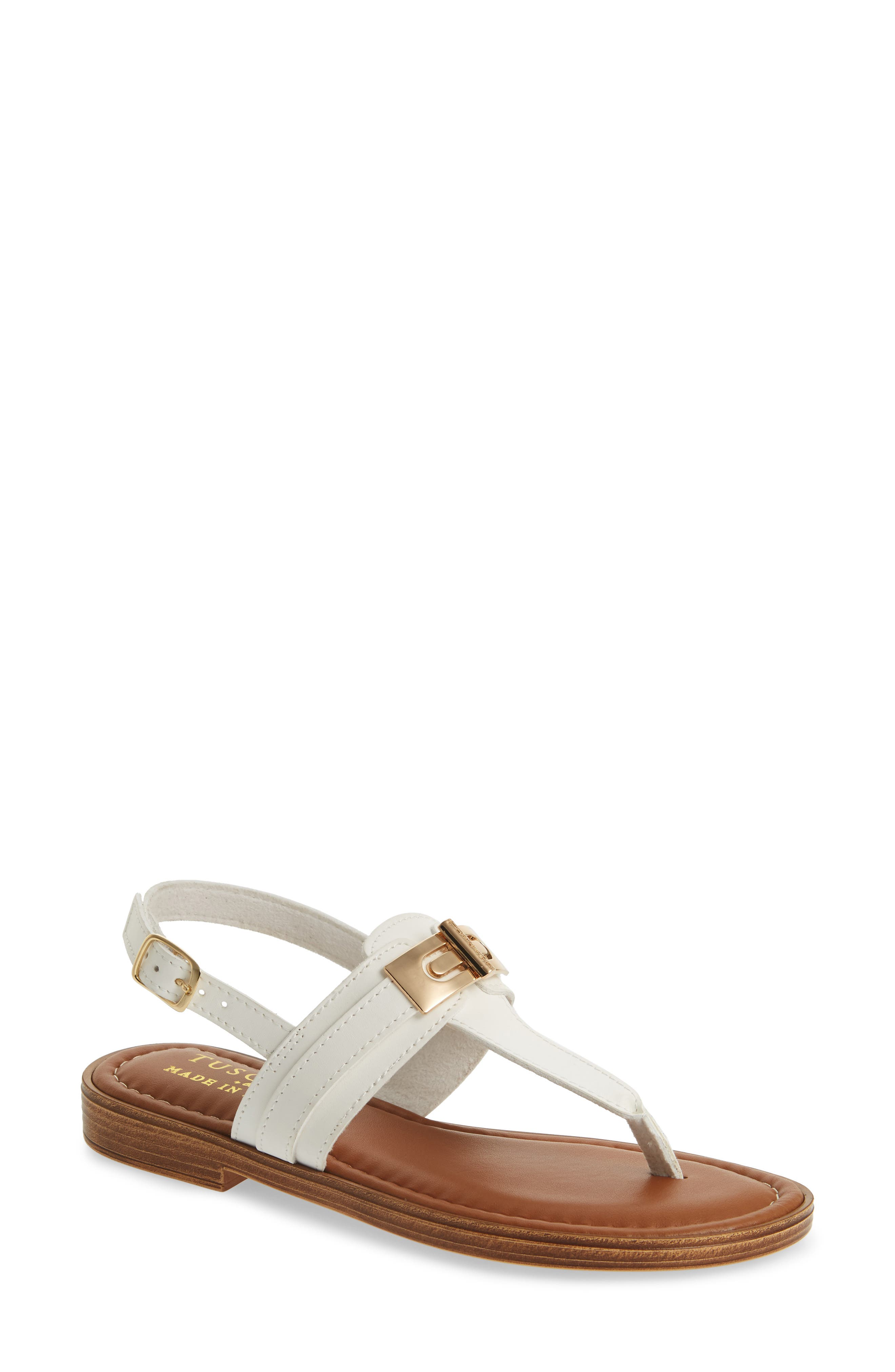 by Easy Street<sup>®</sup> Clariss Sandal,                         Main,                         color, White Faux Leather