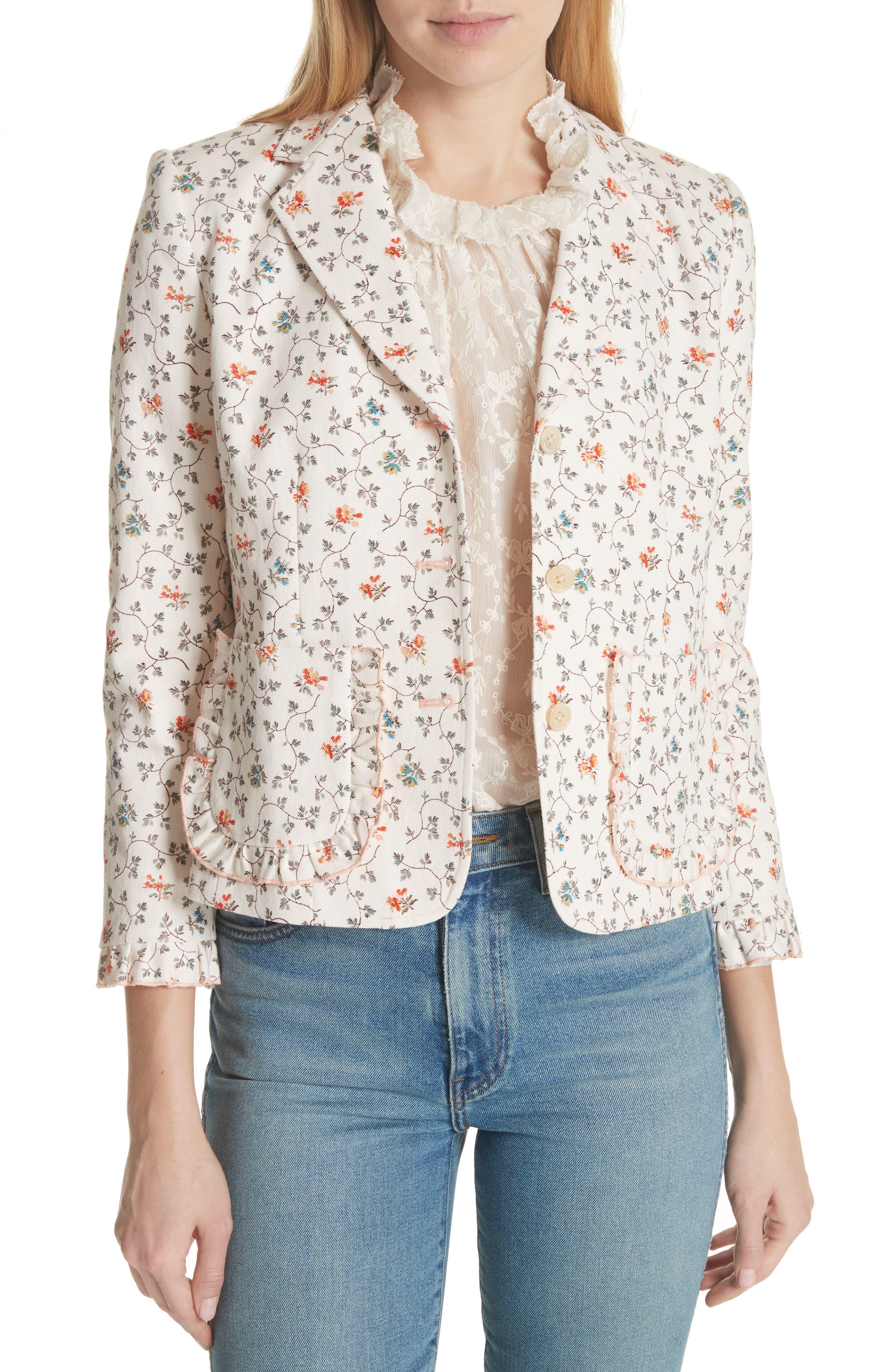 Floral Vine Twill Jacket,                             Main thumbnail 1, color,                             Vanilla