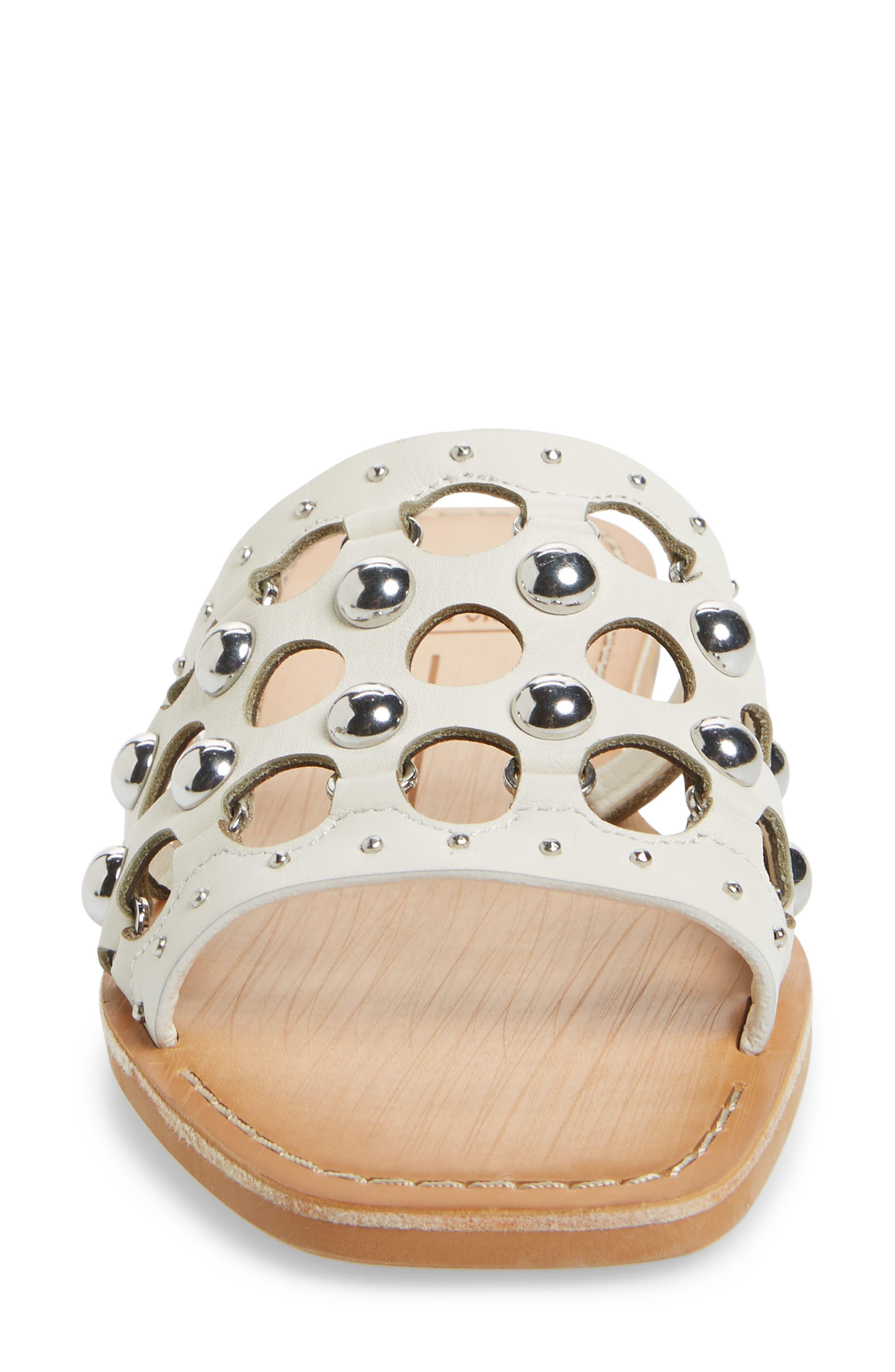 Celita Perforated Studded Slide Sandal,                             Alternate thumbnail 4, color,                             White