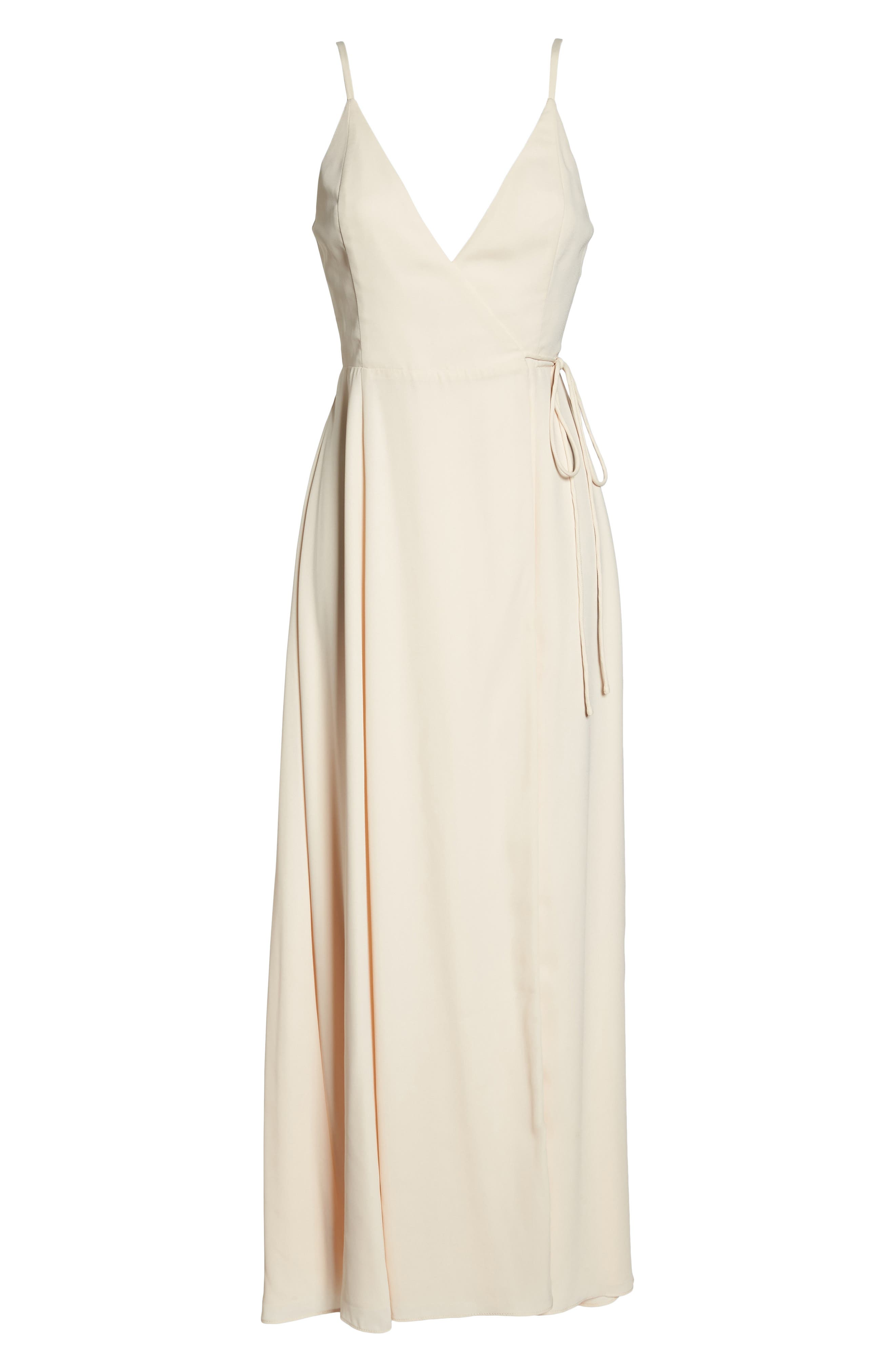 Tilbury Georgette Wrap Maxi Dress,                             Alternate thumbnail 6, color,                             Champagne