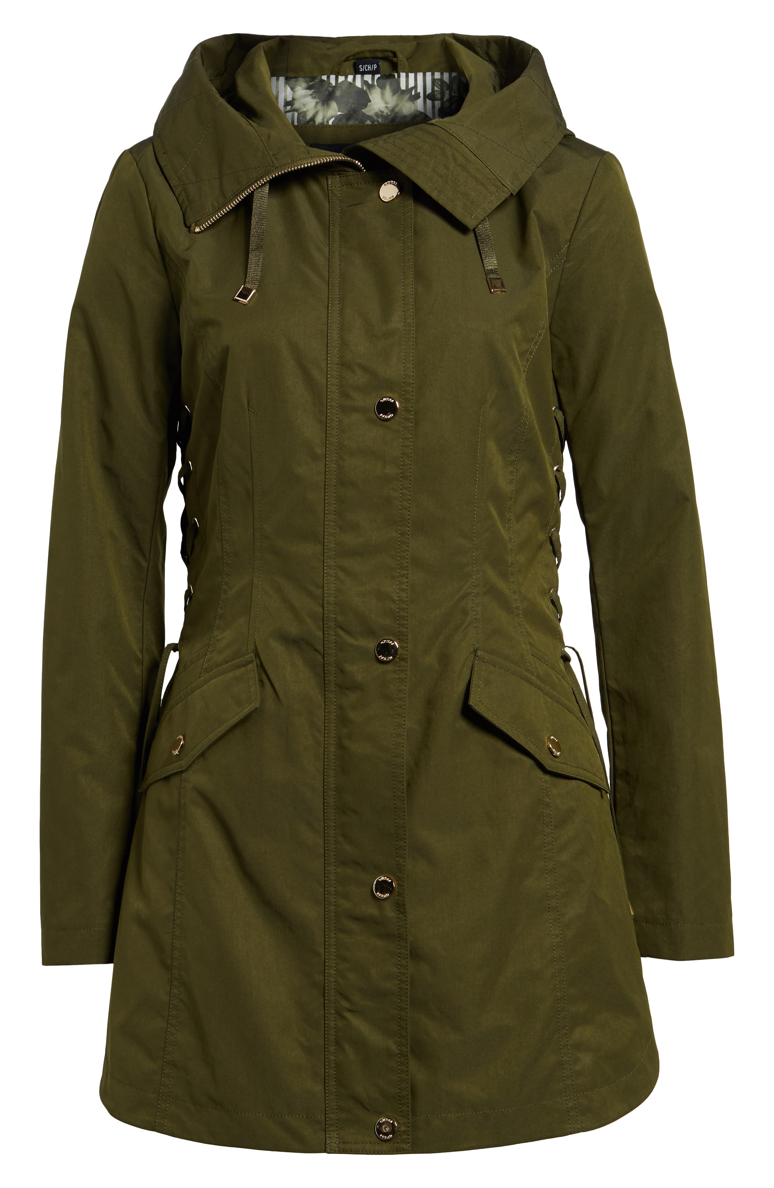 Side Lace-Up Hooded Trench Coat,                             Alternate thumbnail 7, color,                             Olive