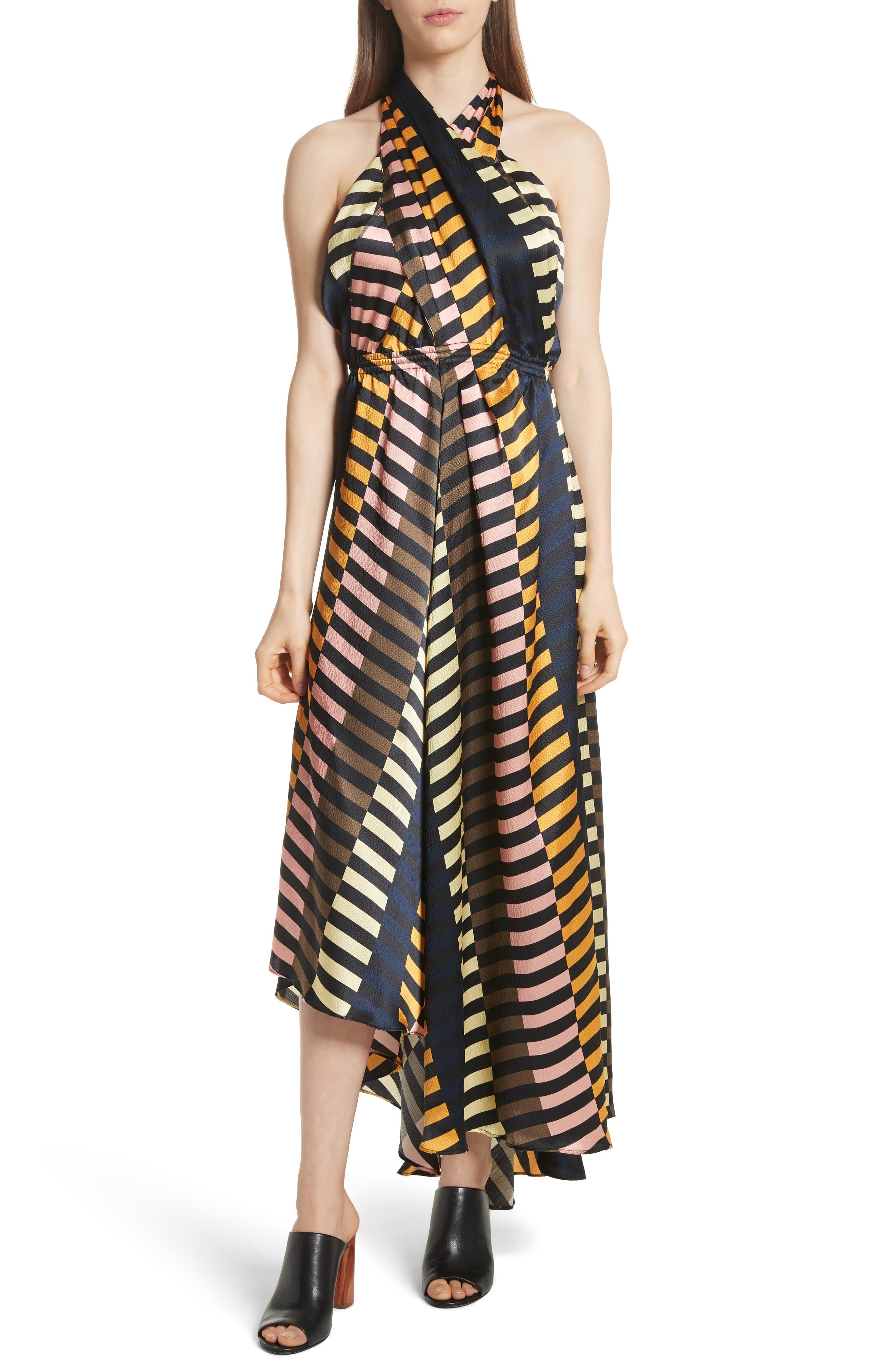 Nightingale Silk Halter Dress,                         Main,                         color, Majorelle Print