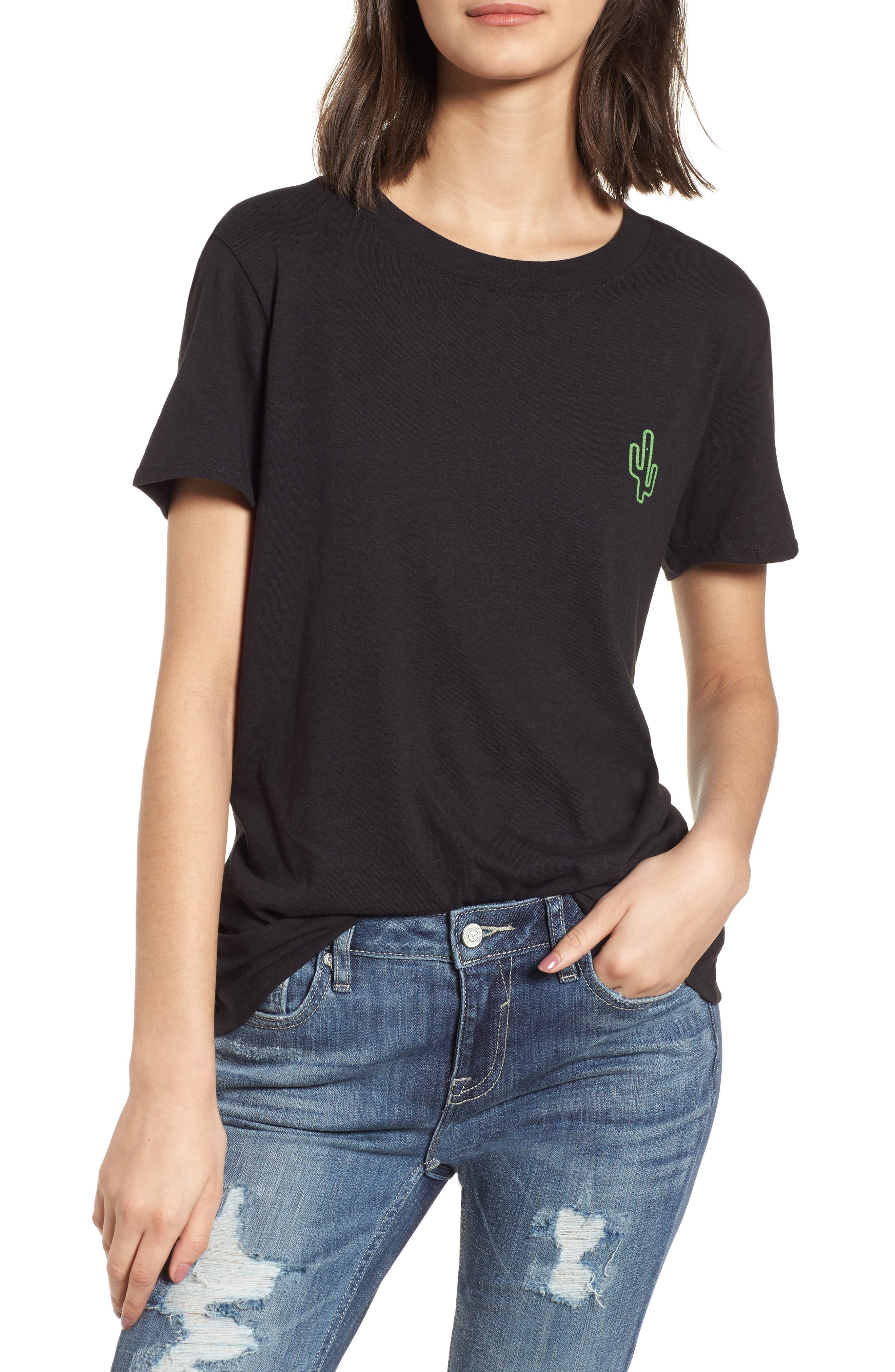 Neon Cactus Loose Fit Tee,                         Main,                         color, Black