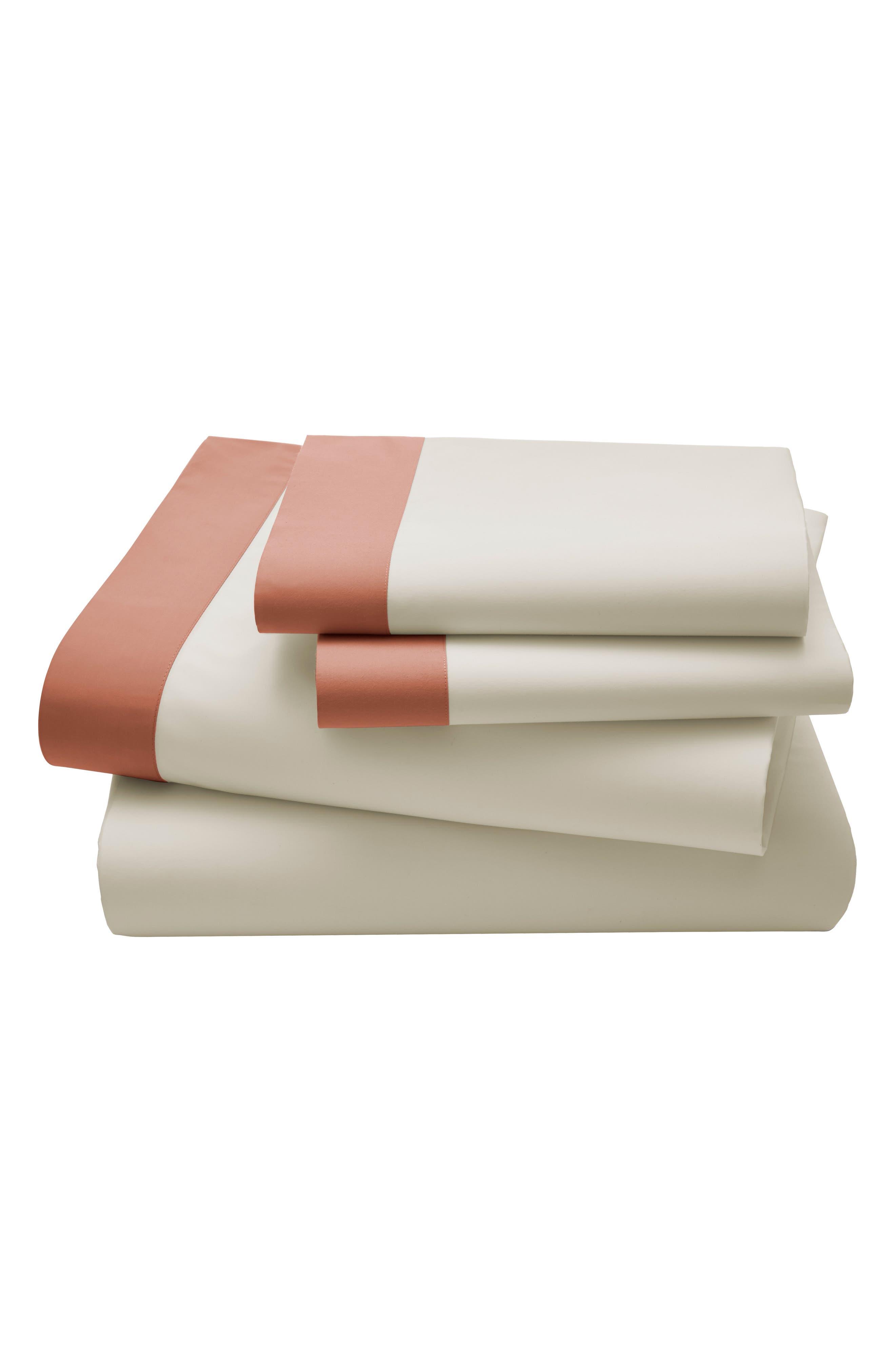 Modern Border 400 Count Sheet Set,                         Main,                         color, Ginger/ Red