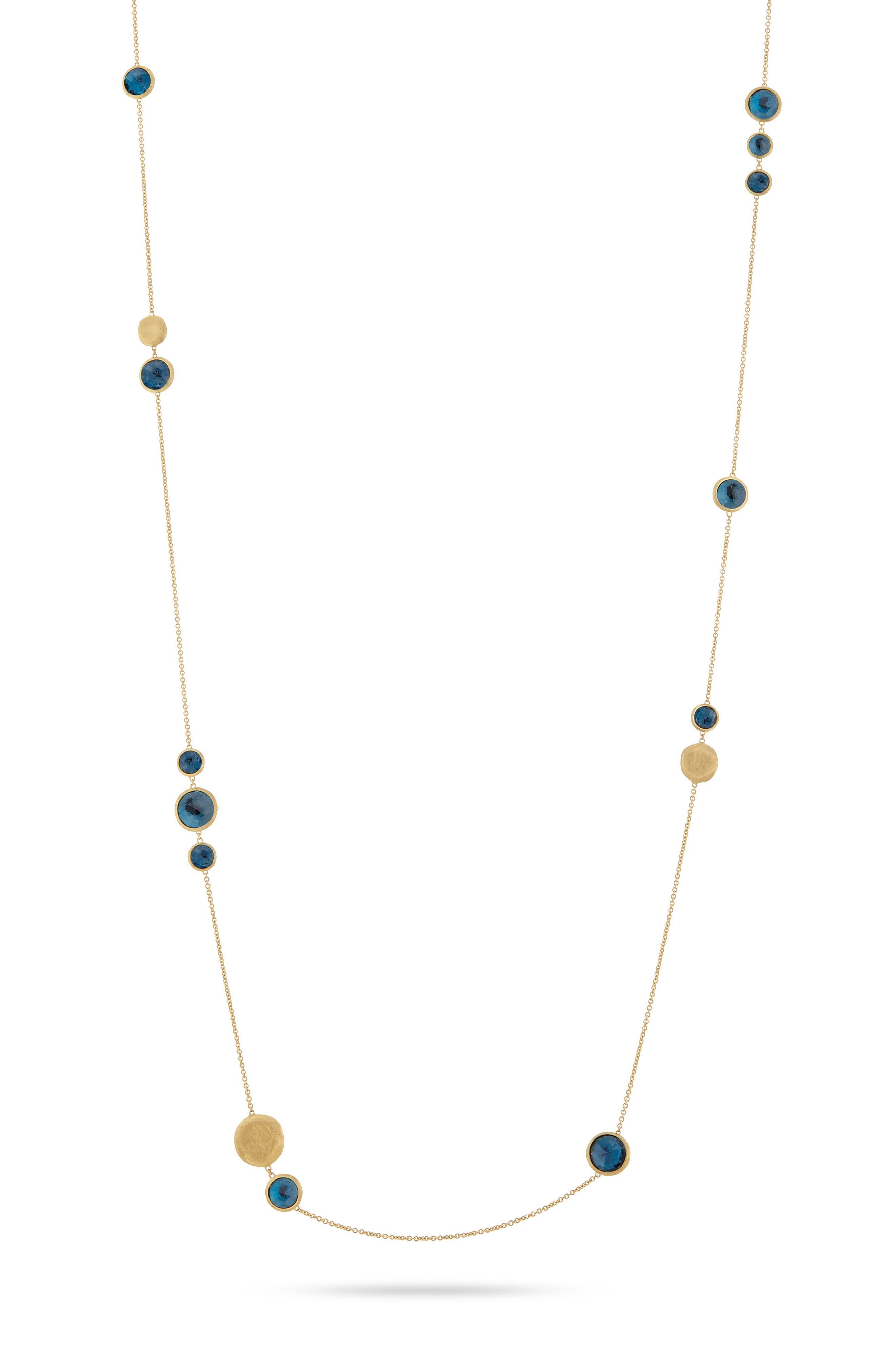 'Jaipur' Long Station Necklace,                             Main thumbnail 1, color,                             Yellow Gold/ Blue Topaz