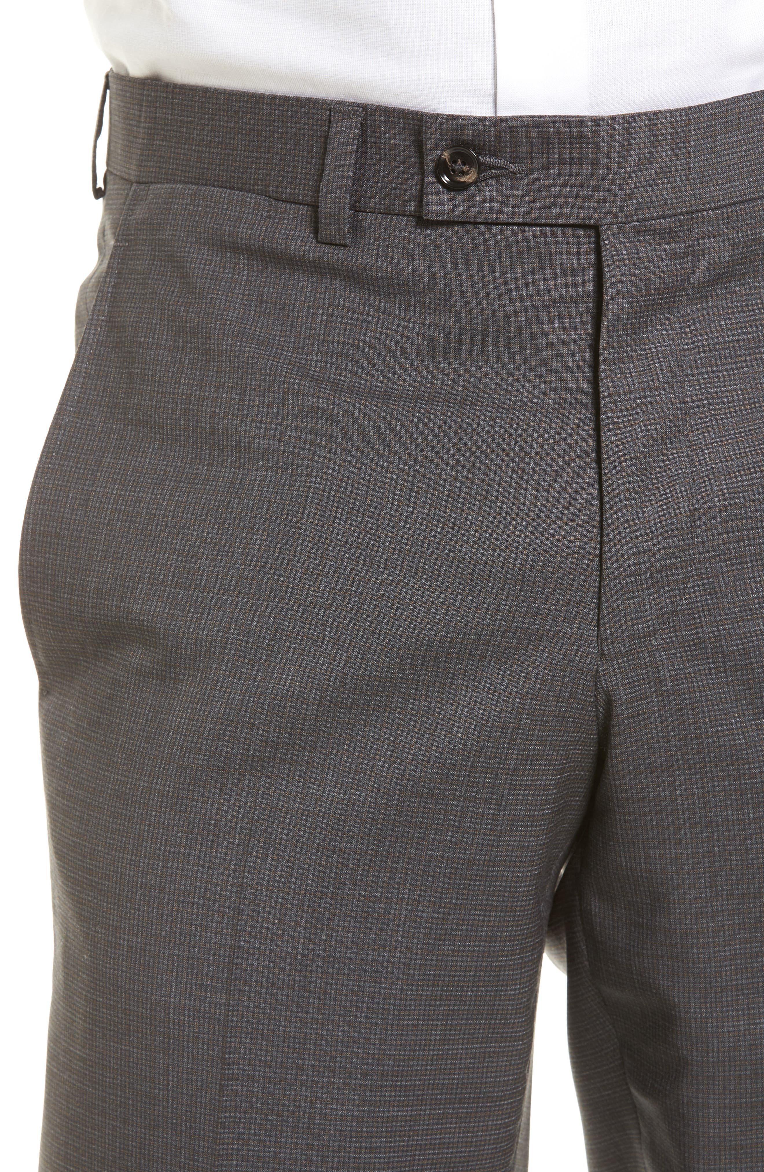 Jefferson Flat Front Wool Trousers,                             Alternate thumbnail 4, color,                             Grey