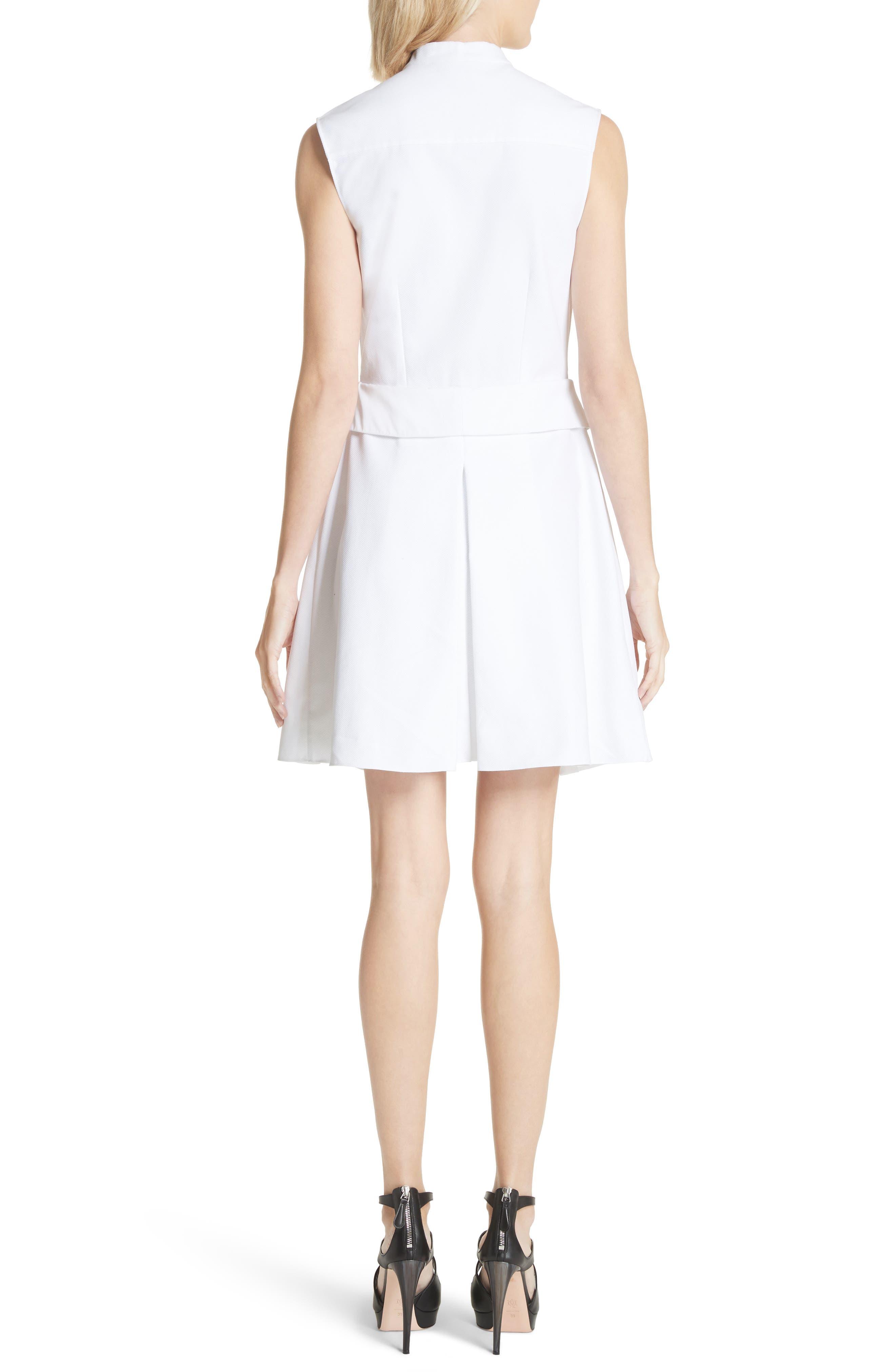 Peplum Hem Piqué Dress,                             Alternate thumbnail 3, color,                             Optic White
