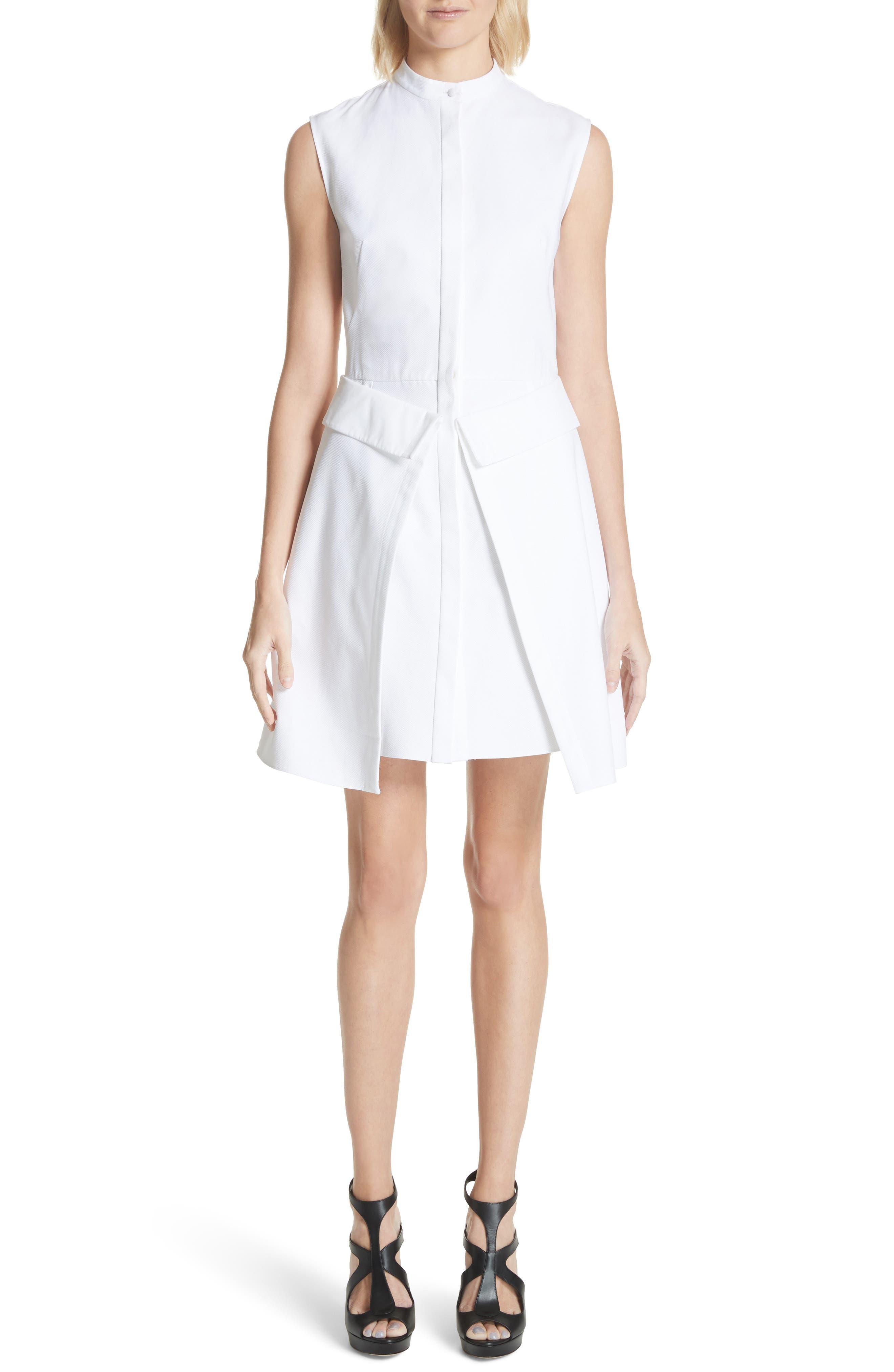 Peplum Hem Piqué Dress,                             Main thumbnail 1, color,                             Optic White