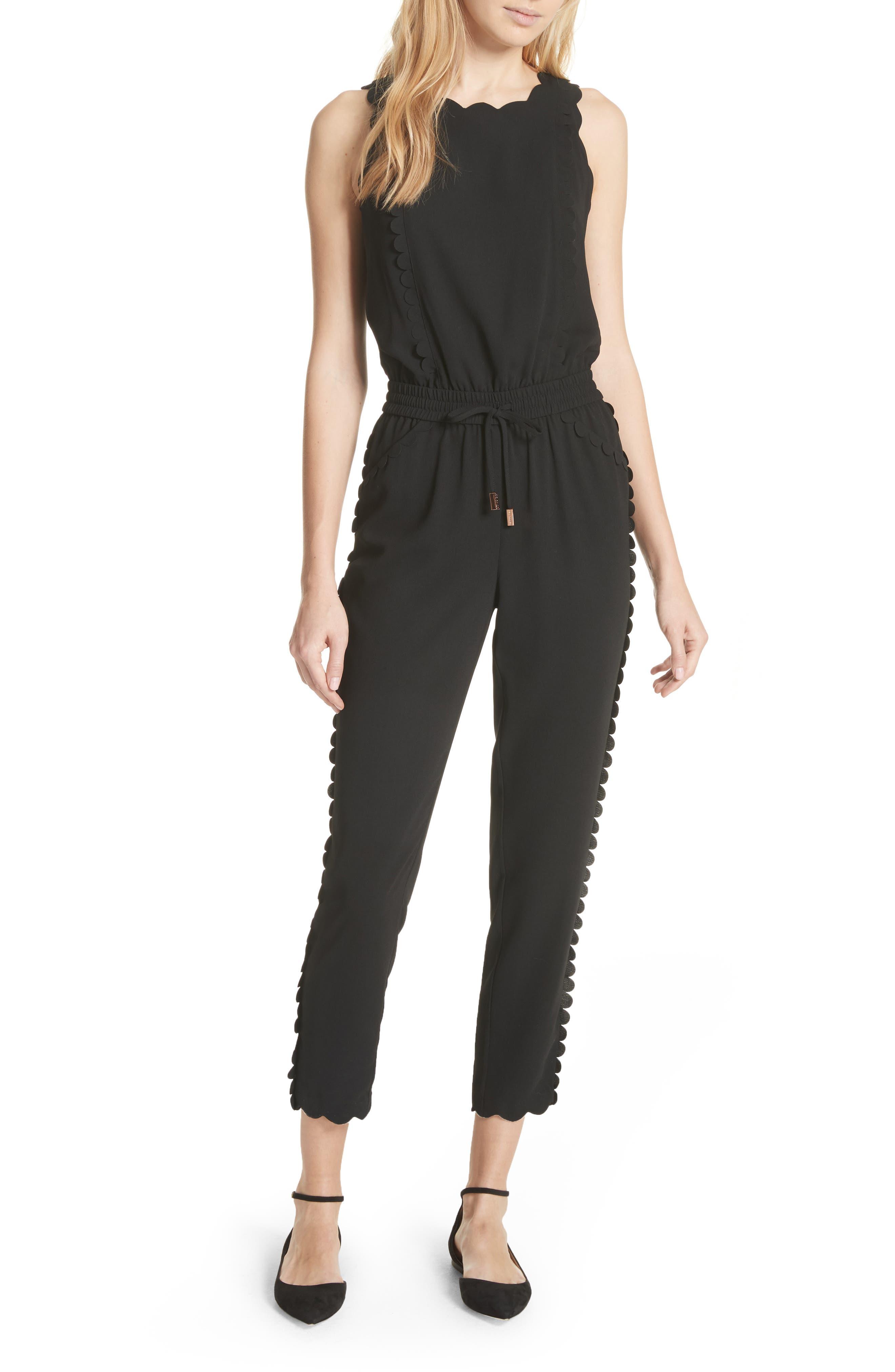 Scallop Trim Jumpsuit,                         Main,                         color, Black