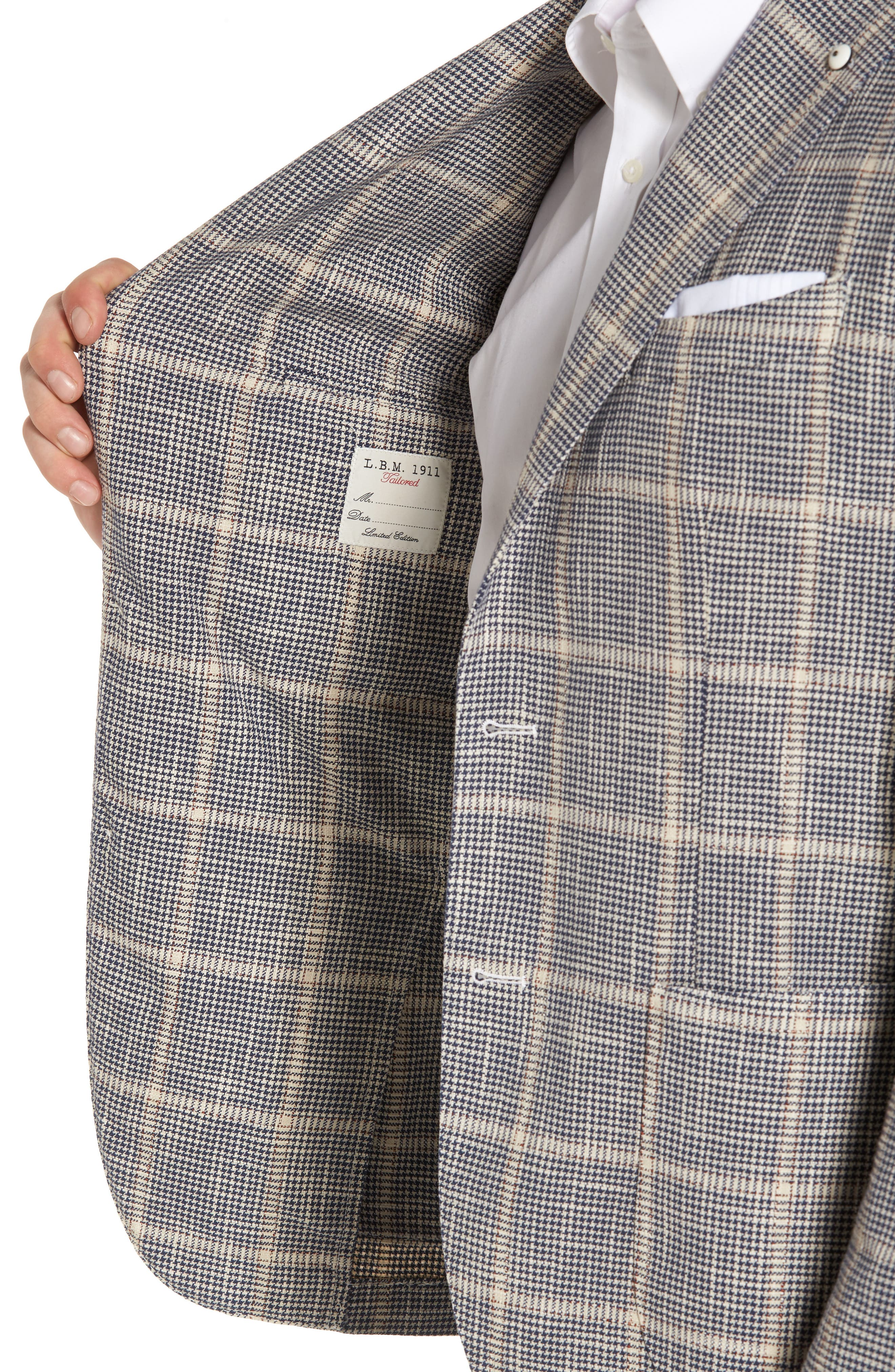 Classic Fit Windowpane Cotton & Silk Sport Coat,                             Alternate thumbnail 4, color,                             Light/ Pastel Brown