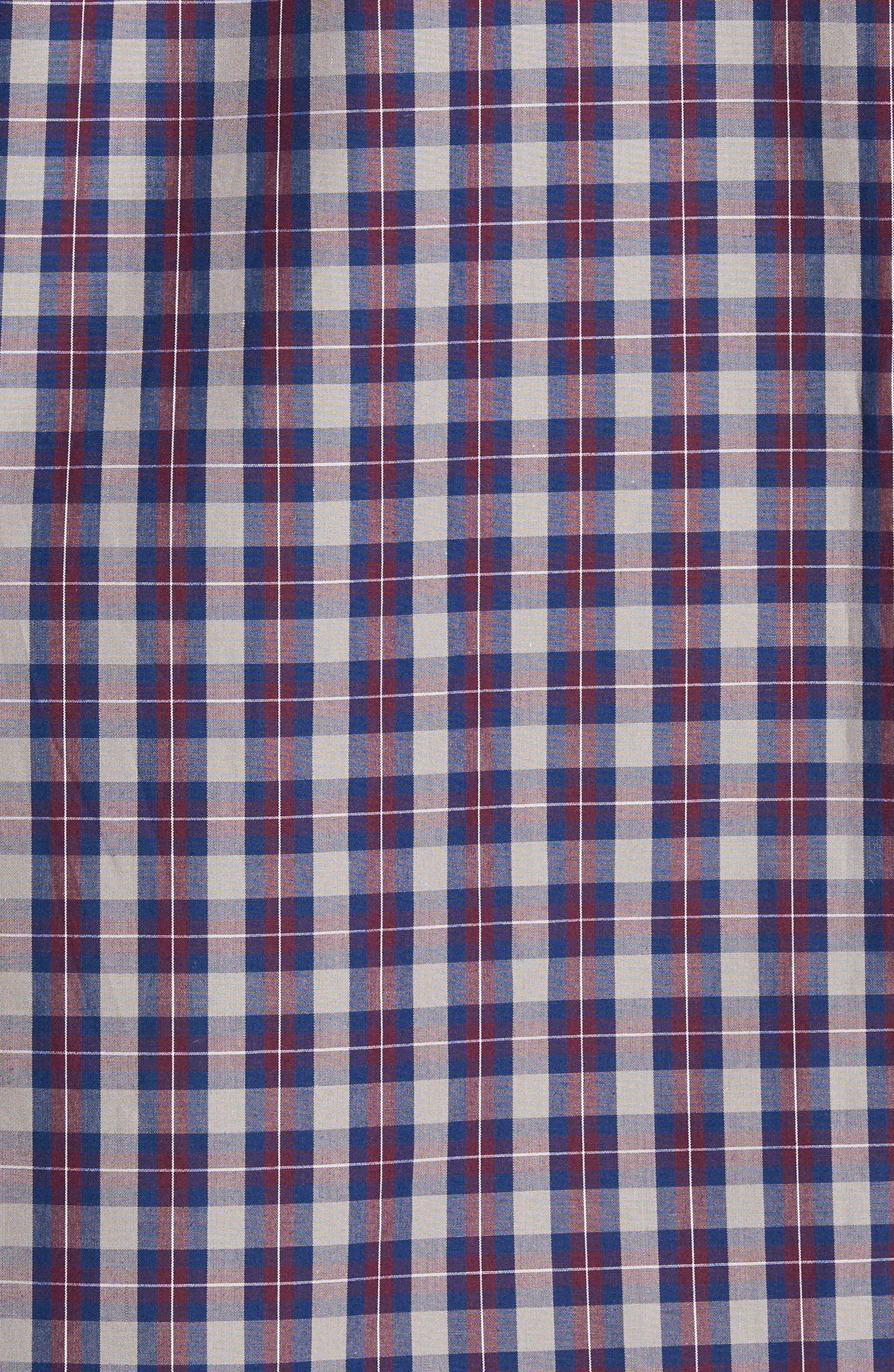 Regular Fit Plaid Sport Shirt,                             Alternate thumbnail 5, color,                             Burgundy