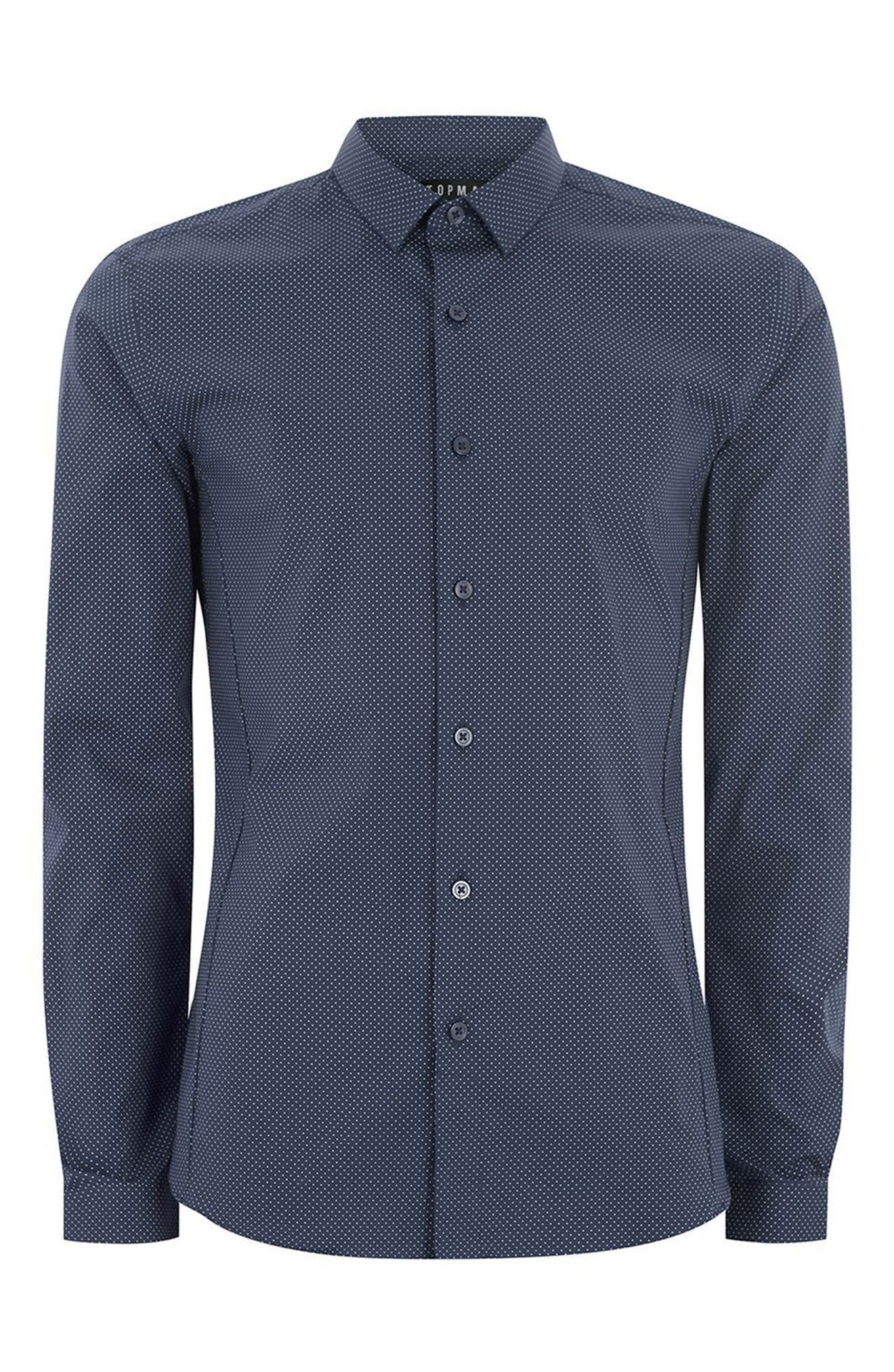 Polka Dot Stretch Smart Shirt,                             Alternate thumbnail 4, color,                             Navy Blue Multi