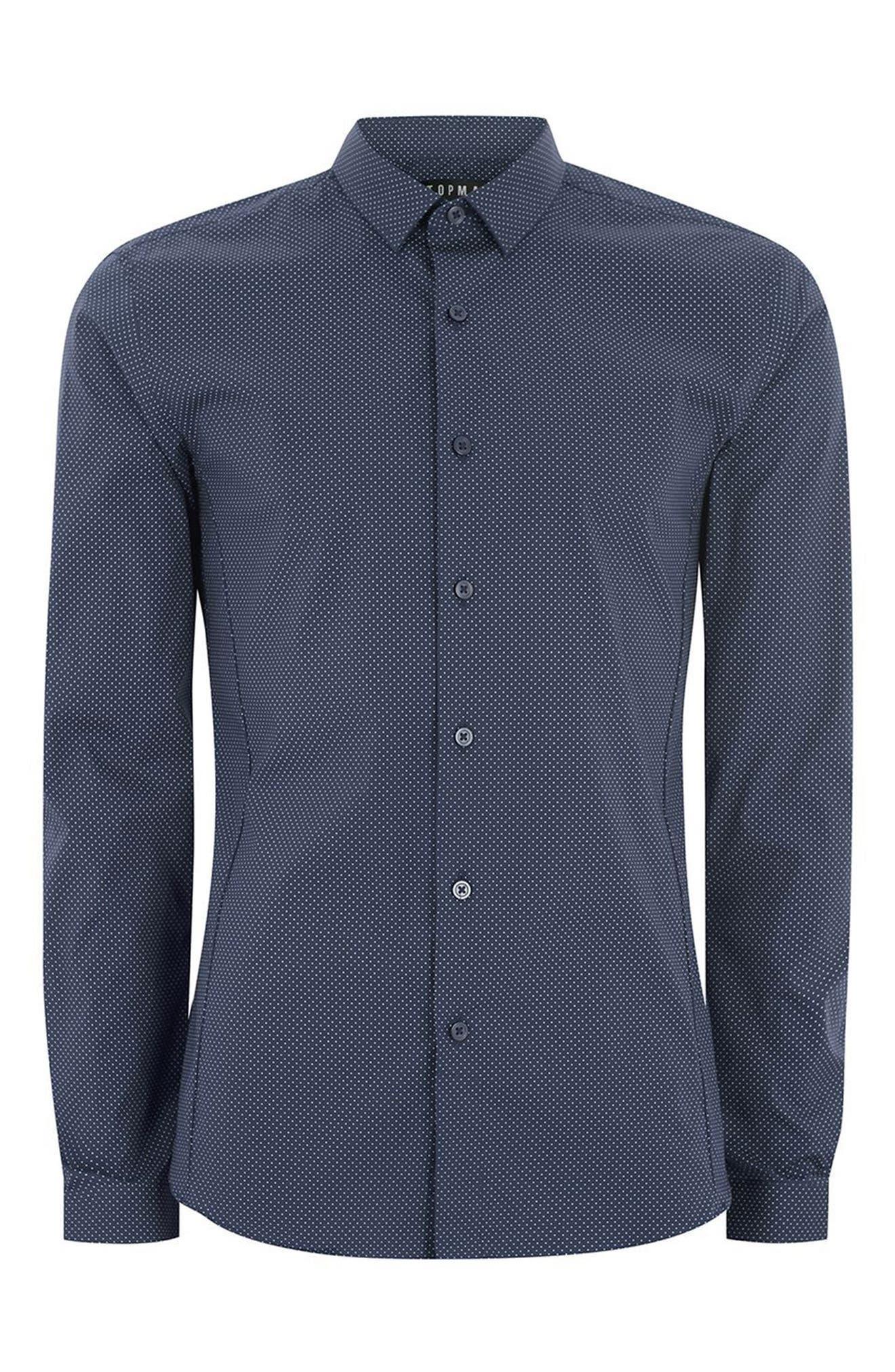 Alternate Image 4  - Topman Polka Dot Stretch Smart Shirt