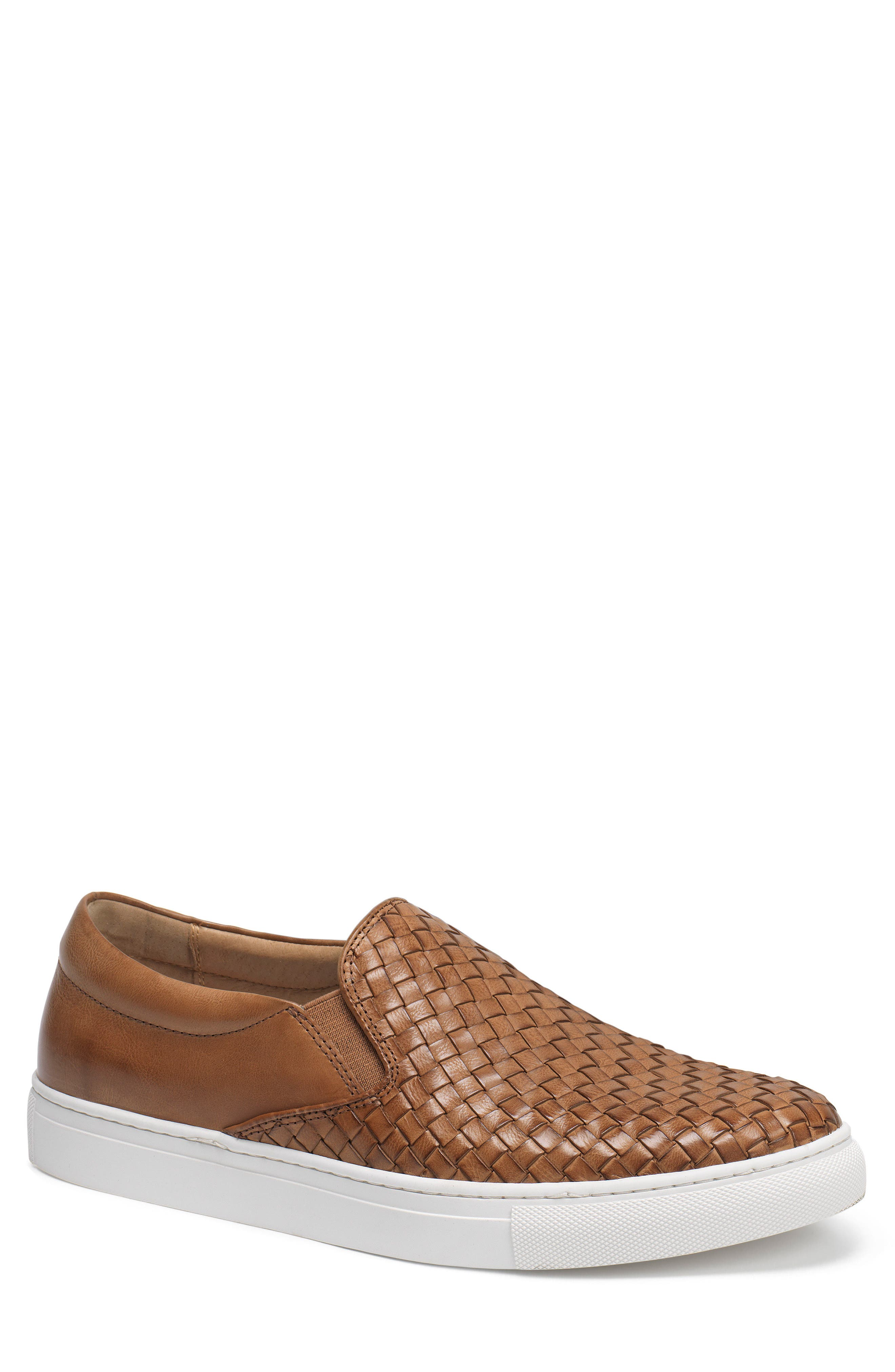Alex Woven Slip-On Sneaker,                             Main thumbnail 1, color,                             Tan Leather