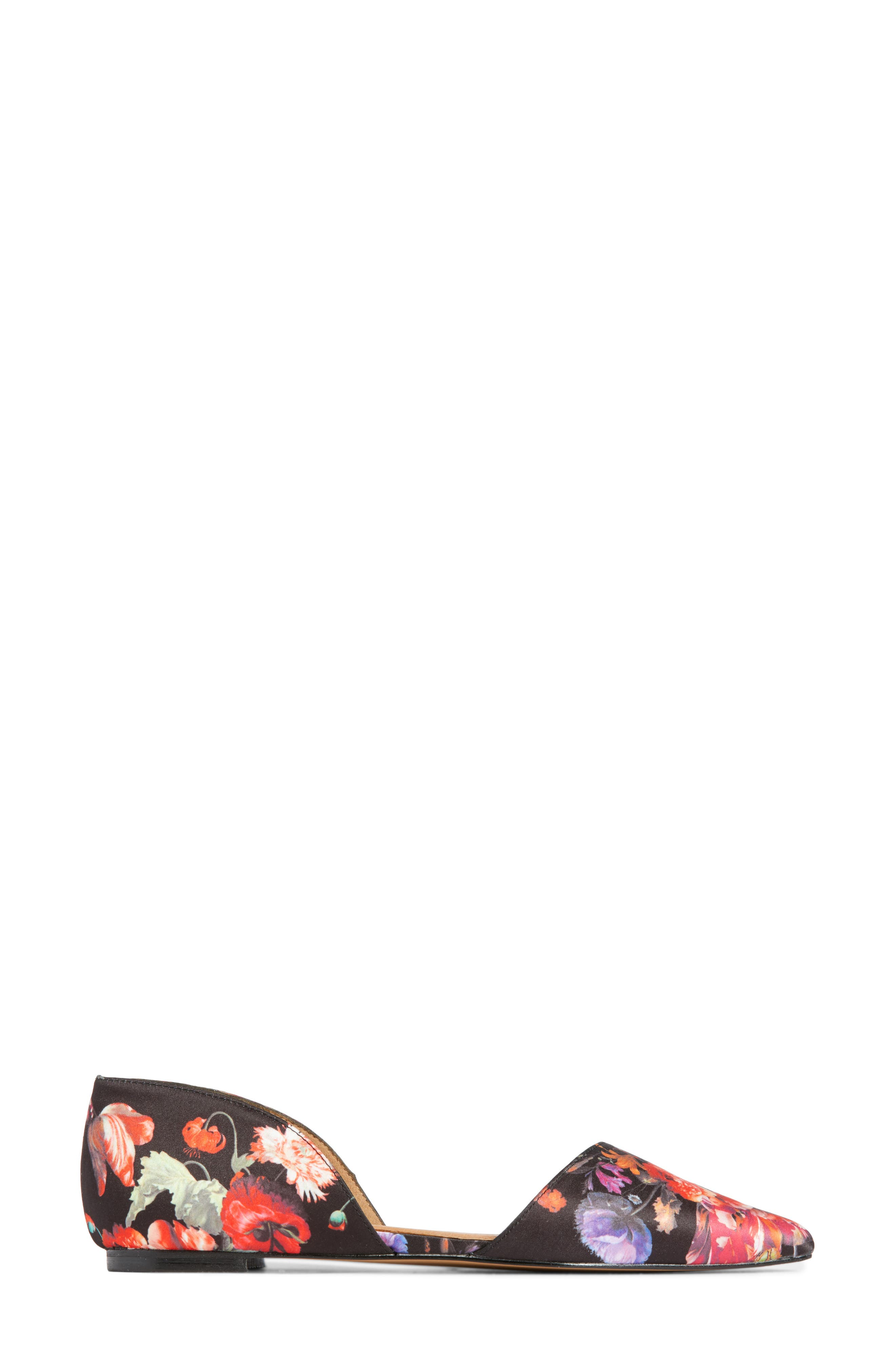 Maisy d'Orsay Flat,                             Alternate thumbnail 4, color,                             Black/ Red Floral Fabric