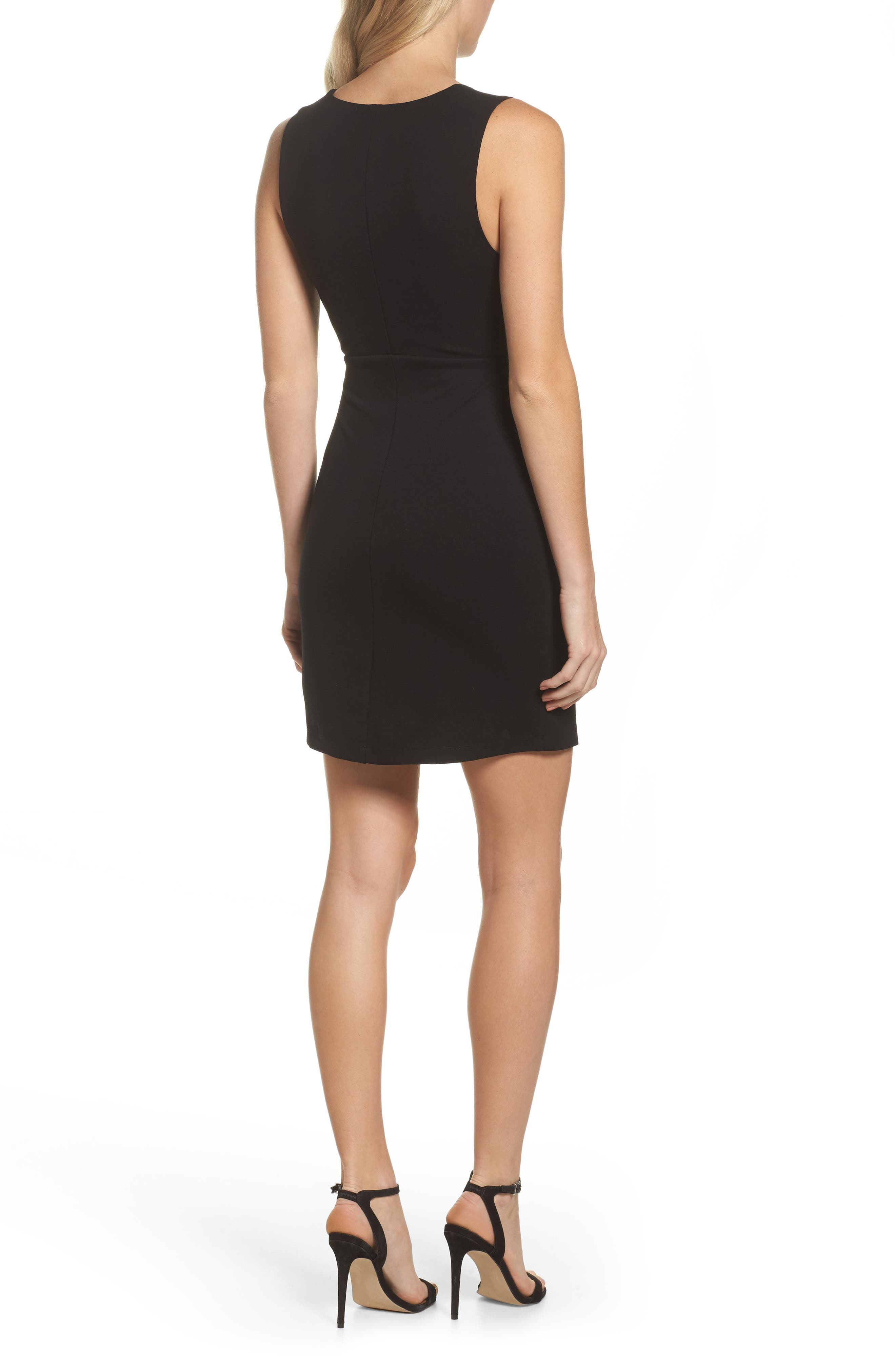 Plunging Jersey Minidress,                             Alternate thumbnail 2, color,                             Black