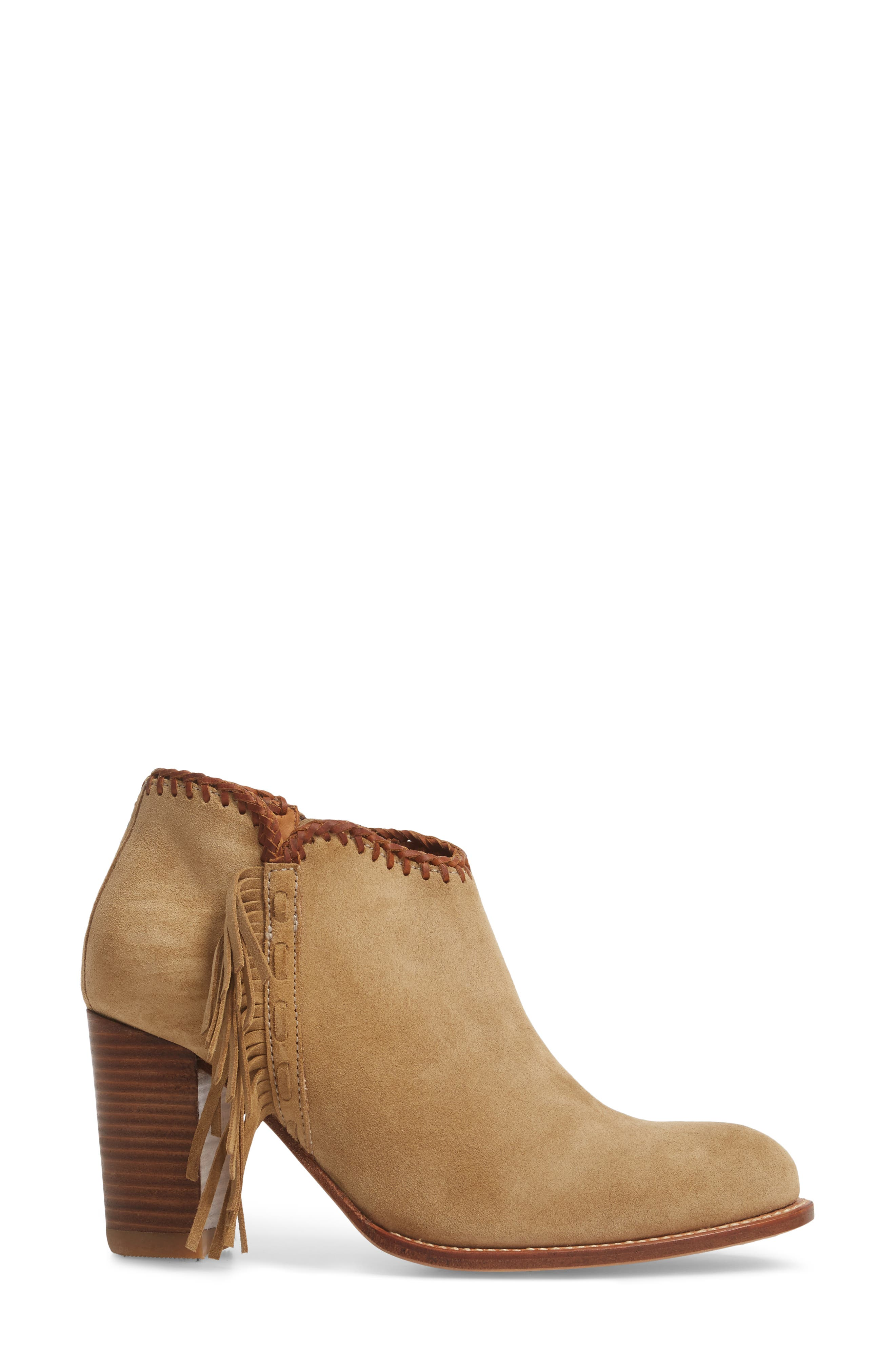 Sonya Fringed Bootie,                             Alternate thumbnail 3, color,                             Taupe Suede