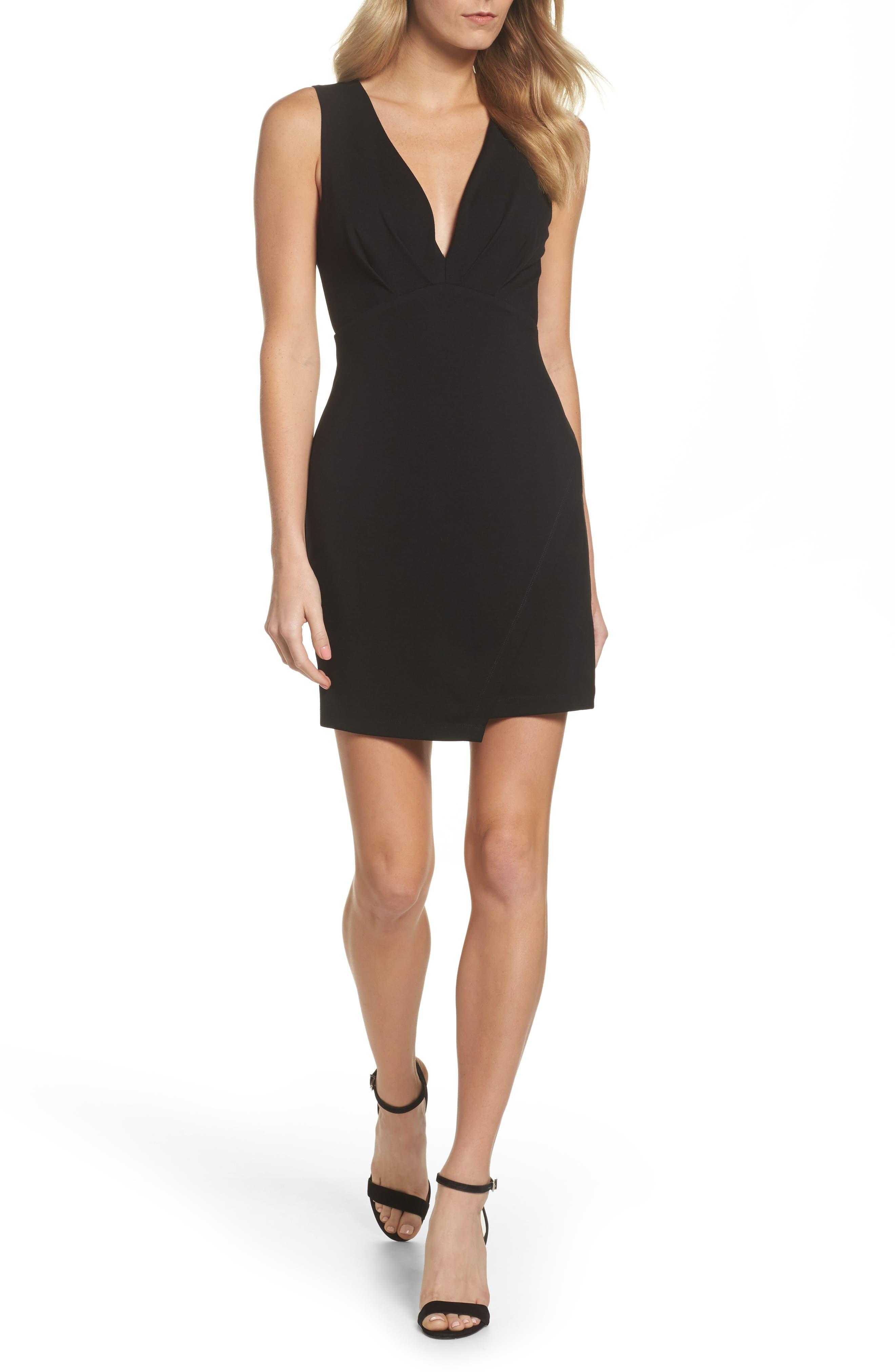 Plunging Jersey Minidress,                         Main,                         color, Black