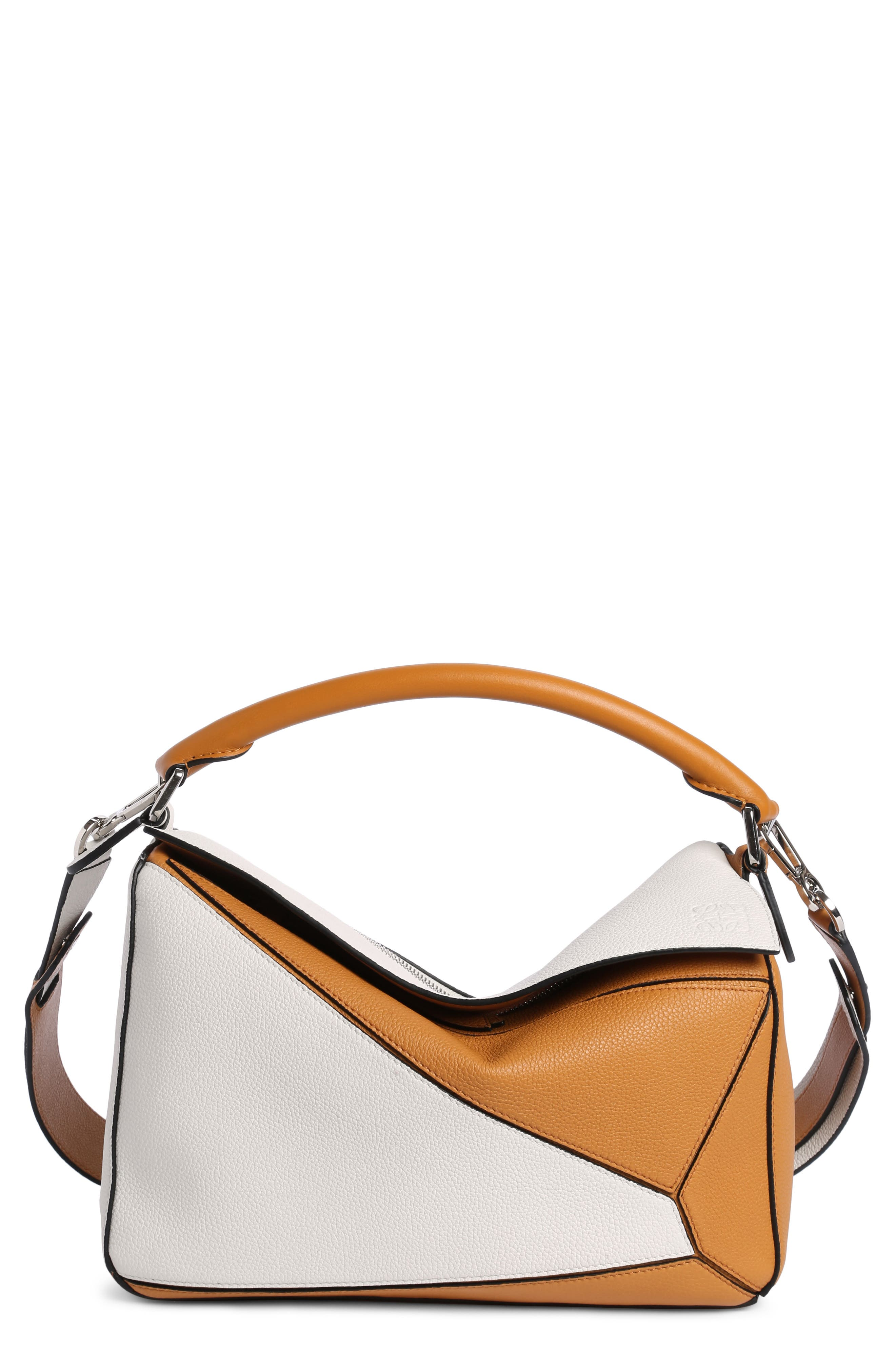 Puzzle Colorblock Calfskin Leather Bag,                             Main thumbnail 1, color,                             Soft White/ Amber