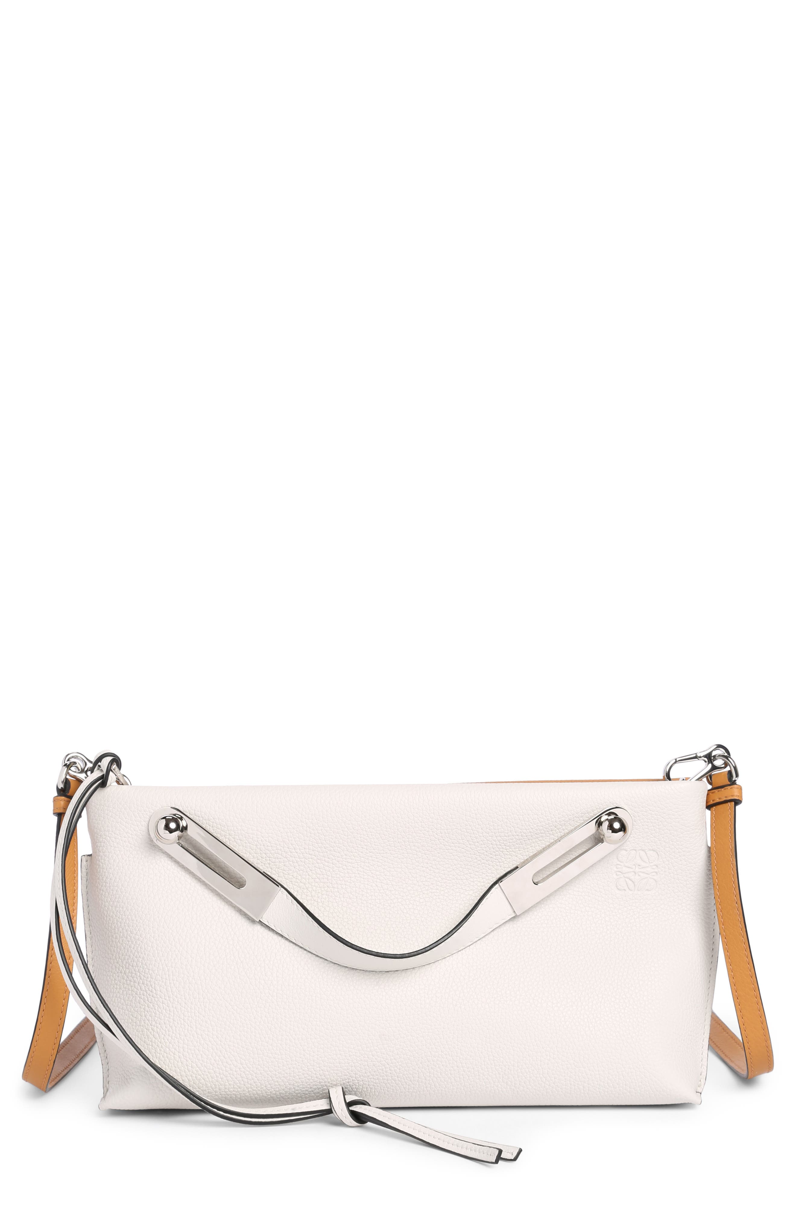 Small Missy Calfskin Leather Crossbody Bag,                             Main thumbnail 1, color,                             Soft White/ Amber