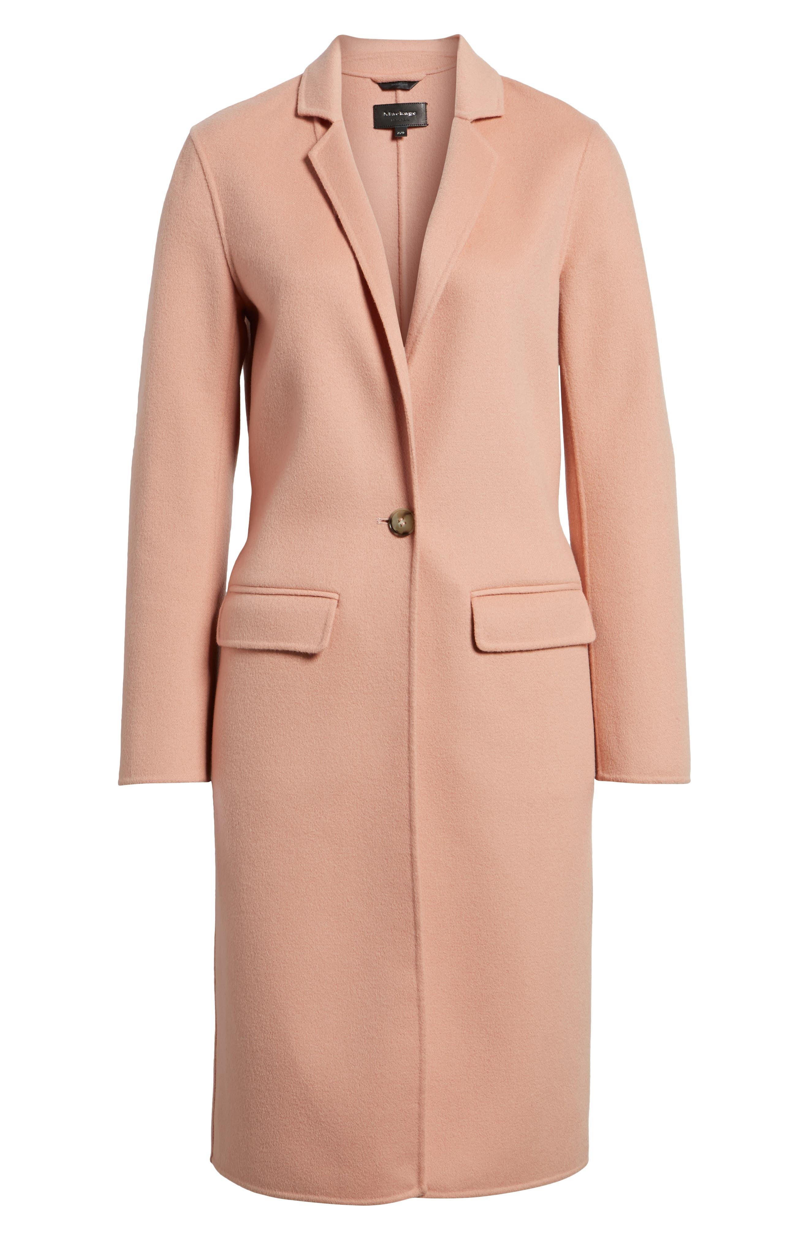 Double-Face Wool Jacket,                             Alternate thumbnail 6, color,                             Peach