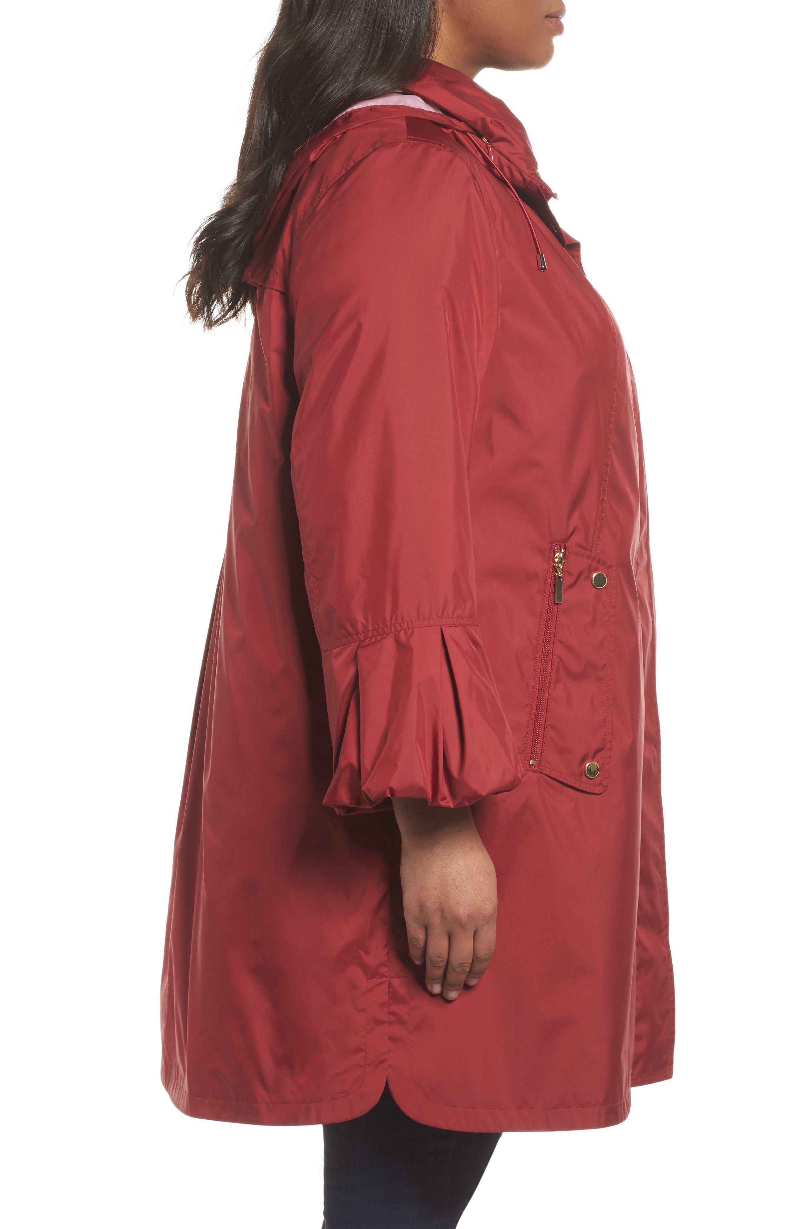 Flare Sleeve Packable Swing Jacket,                             Alternate thumbnail 3, color,                             Garnet