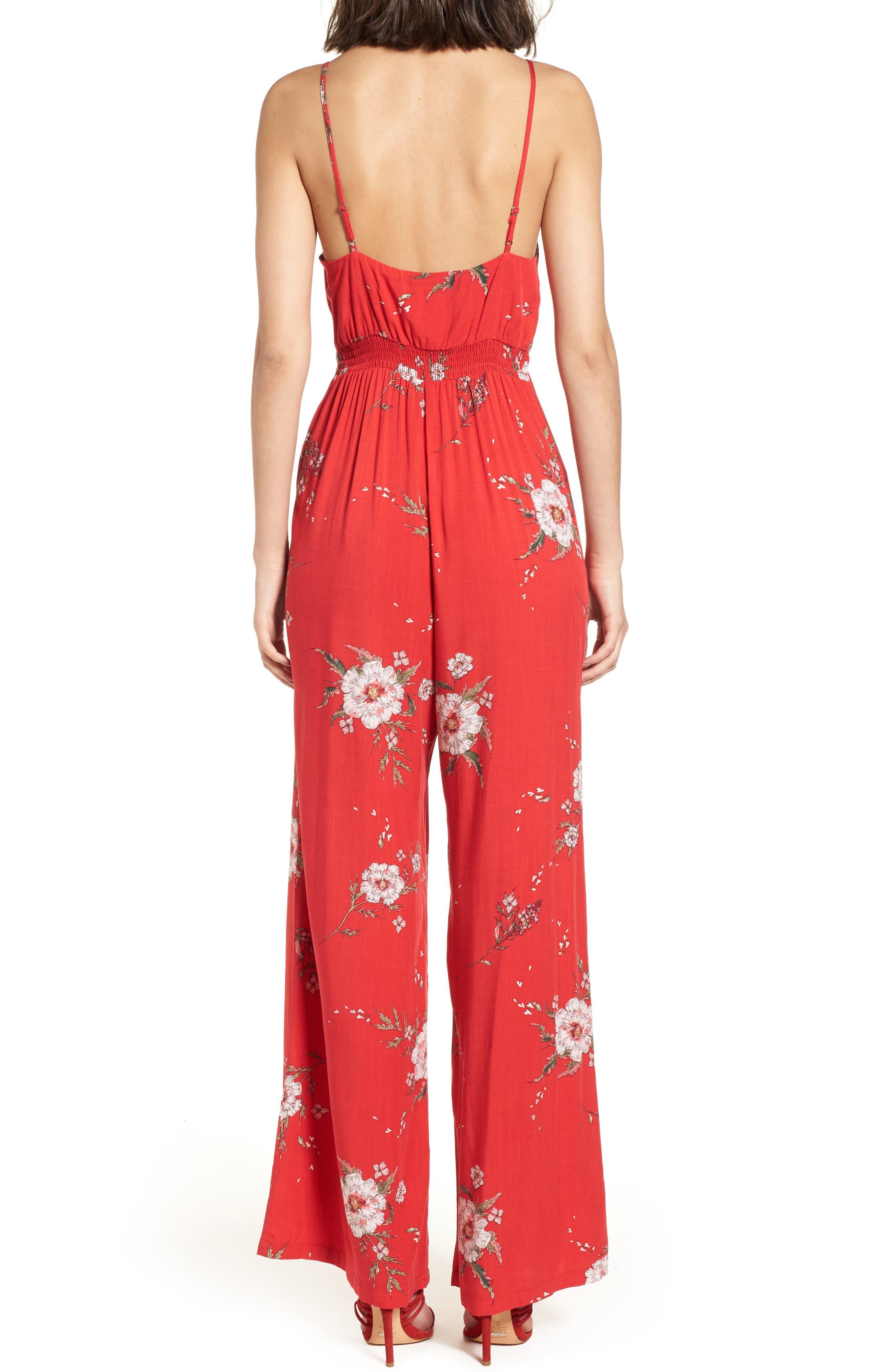 Twist Front Cutout Jumpsuit,                             Alternate thumbnail 2, color,                             Red Floral