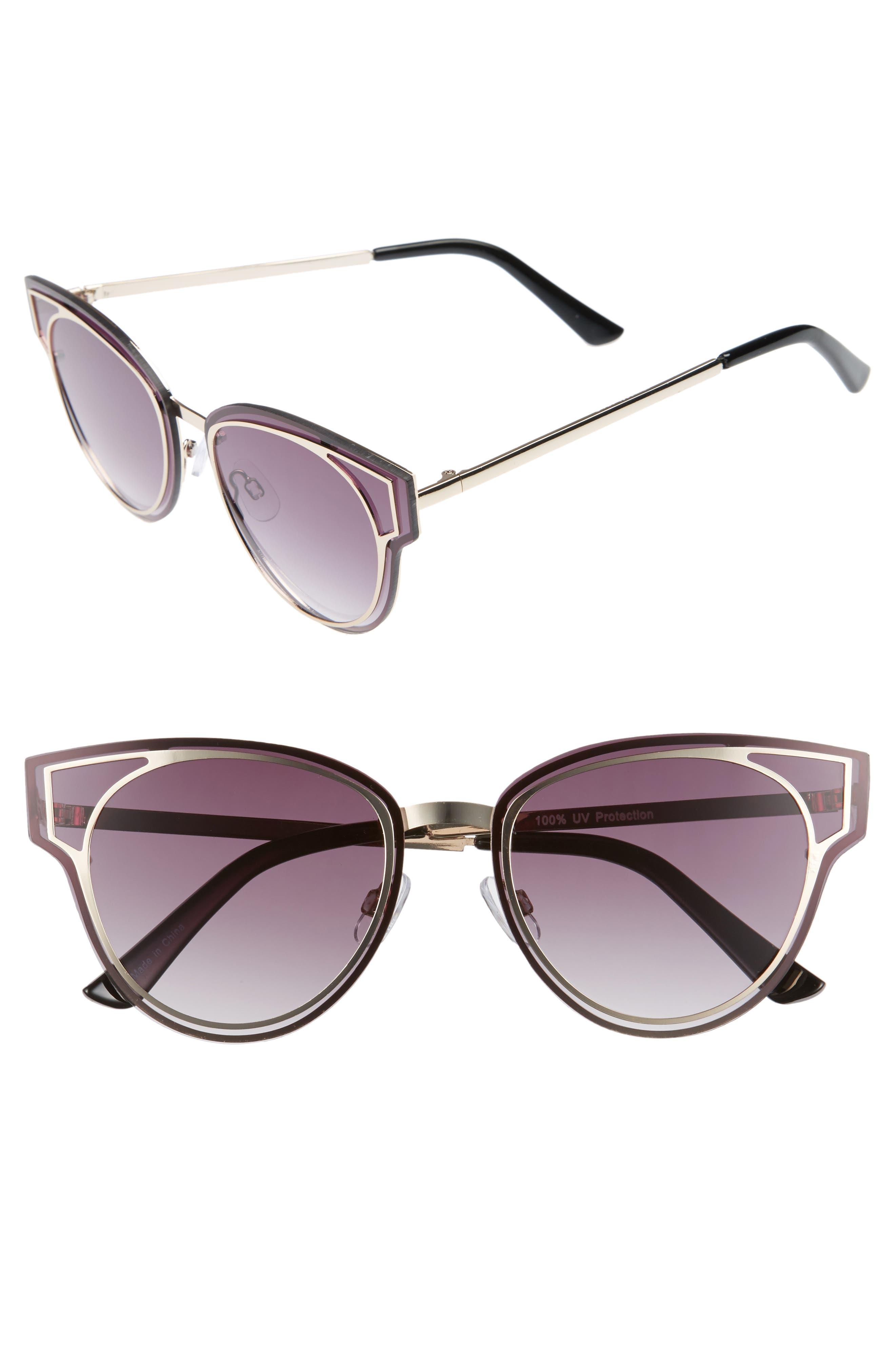 Geo Flat Metal Cutout Sunglasses,                         Main,                         color, Gold/ Smoke