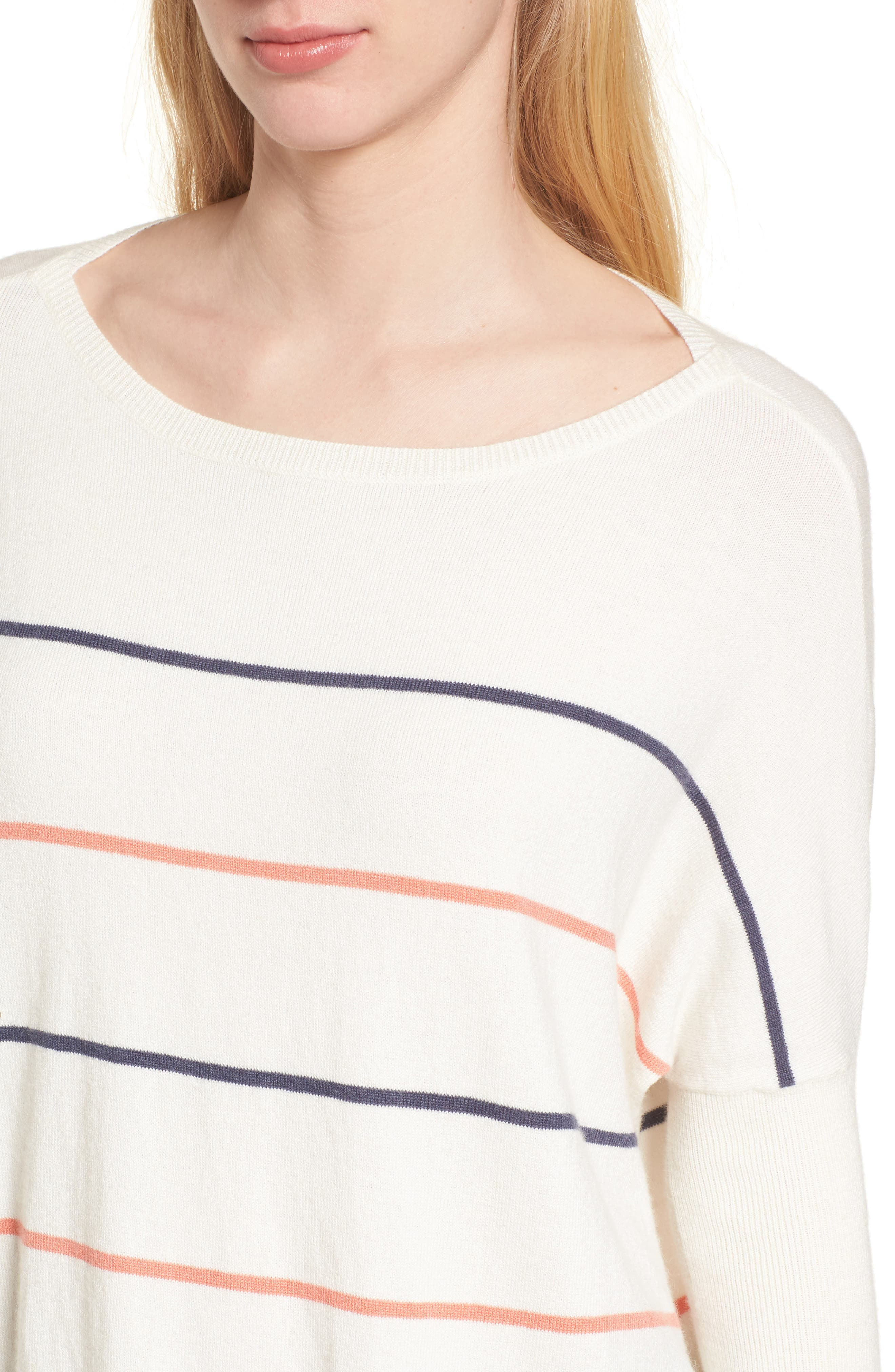 Cascada Stripe Sweater,                             Alternate thumbnail 4, color,                             Ivory