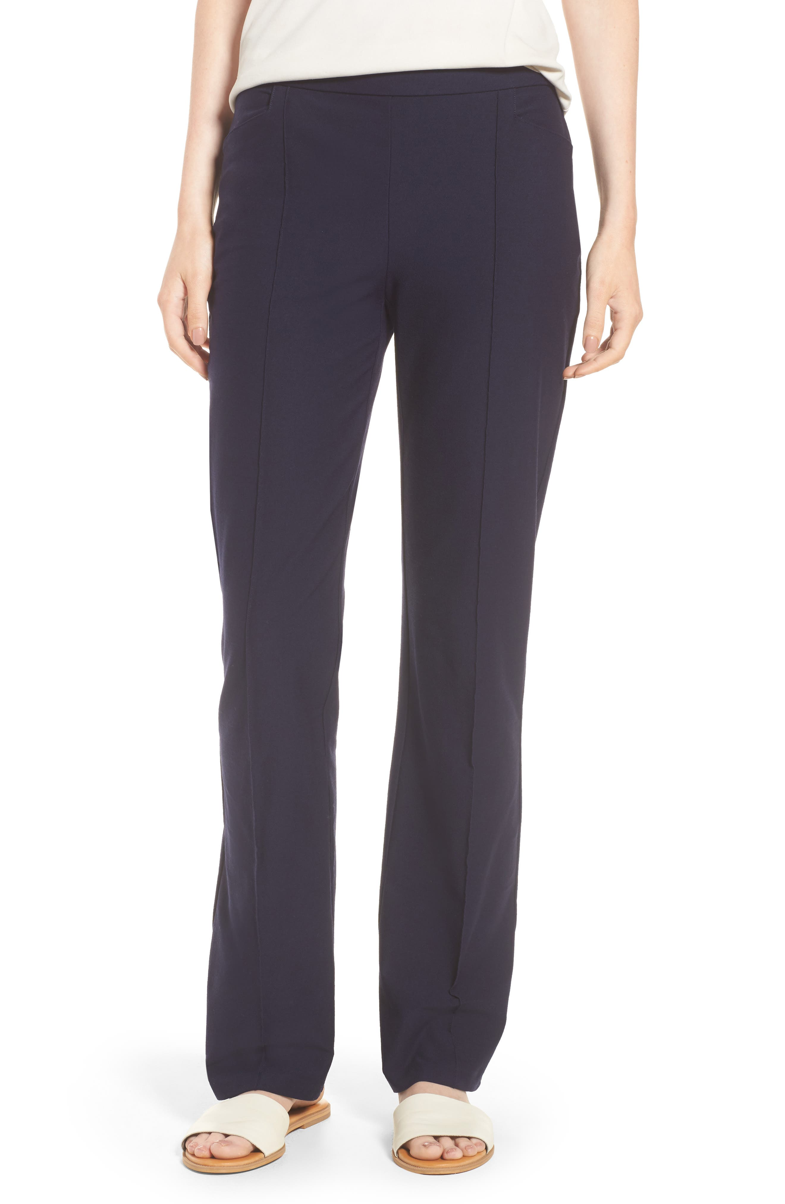 Slim Washable Stretch Crepe Bootcut Pants,                             Main thumbnail 1, color,                             Midnight