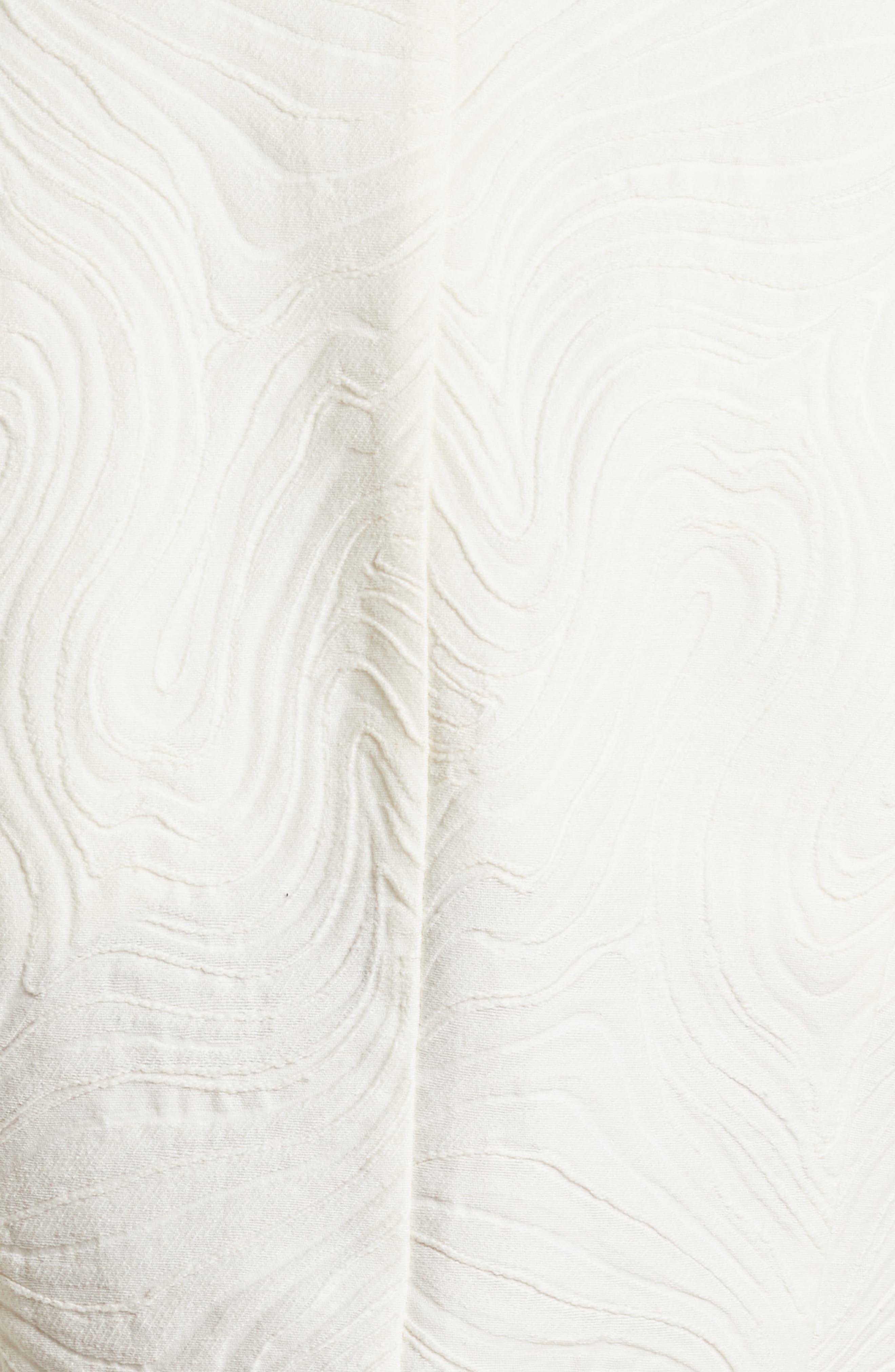 Rhodes Swirl Jacquard Trench Coat,                             Alternate thumbnail 6, color,                             Off White