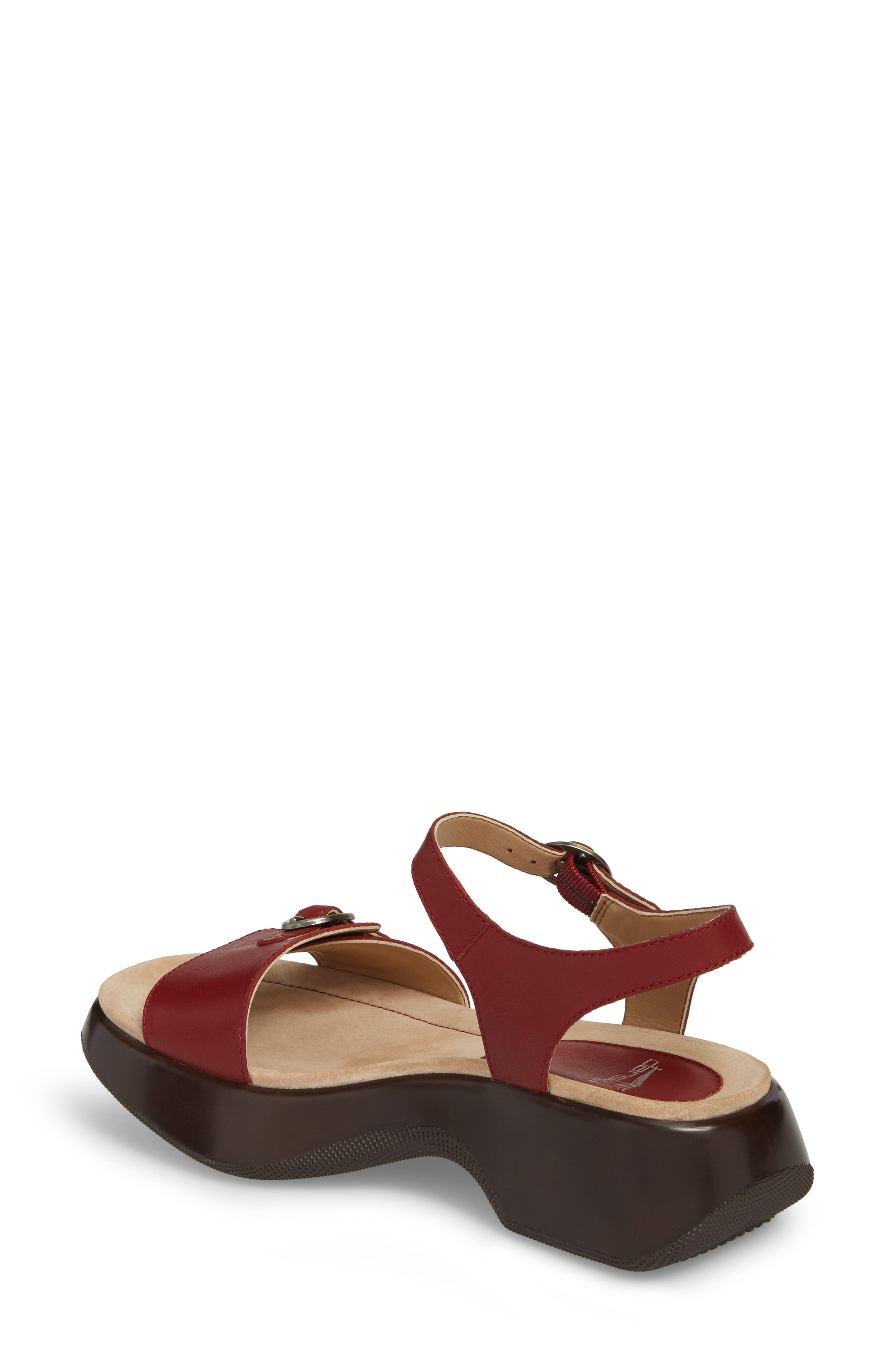 Lynnie Sandal,                             Alternate thumbnail 2, color,                             Red Leather