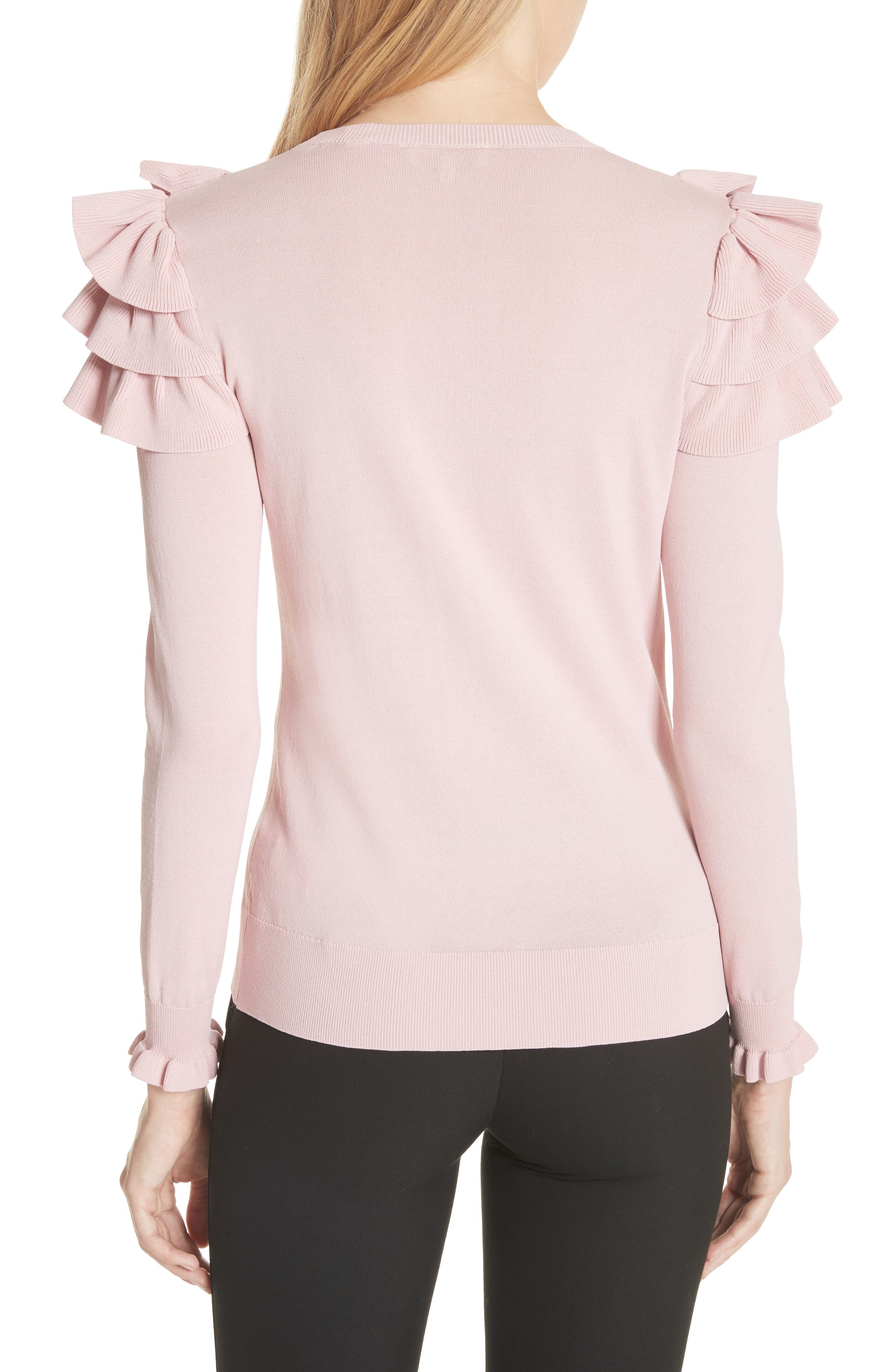 Satin Contrast Ruffle Sweater,                             Alternate thumbnail 2, color,                             Dusky Pink