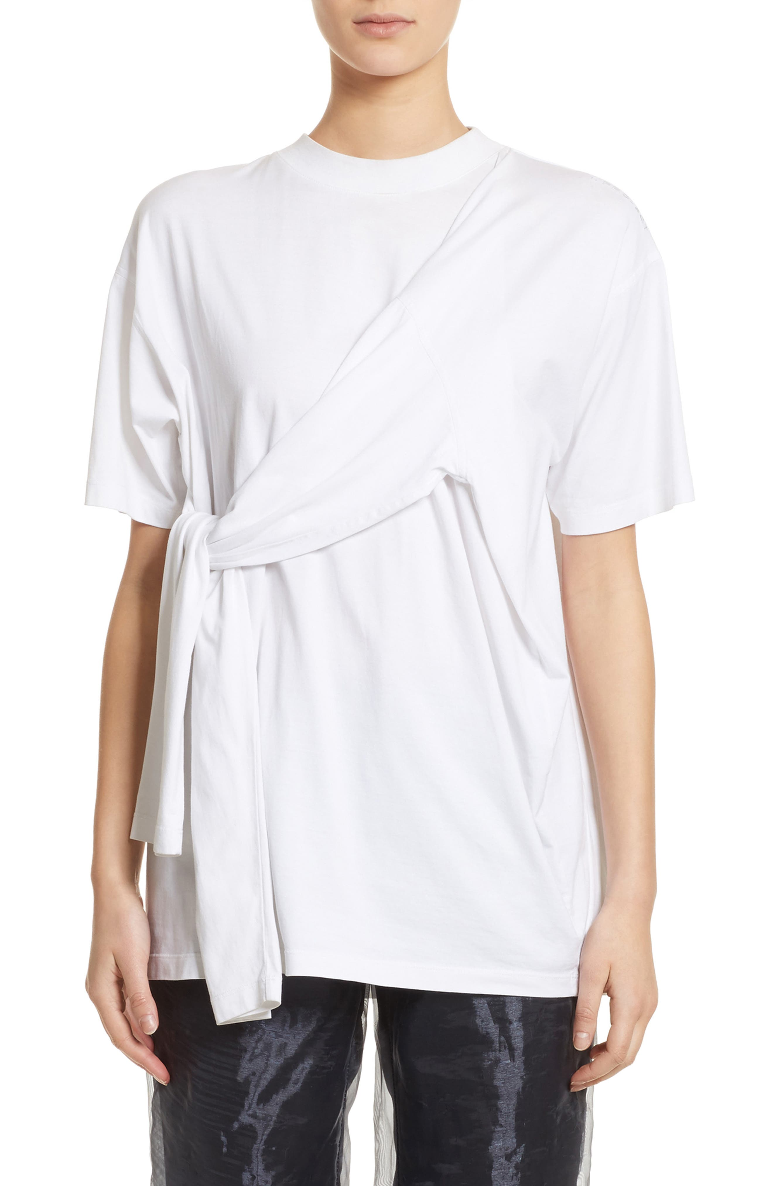 Tie Front Tee,                             Main thumbnail 1, color,                             White
