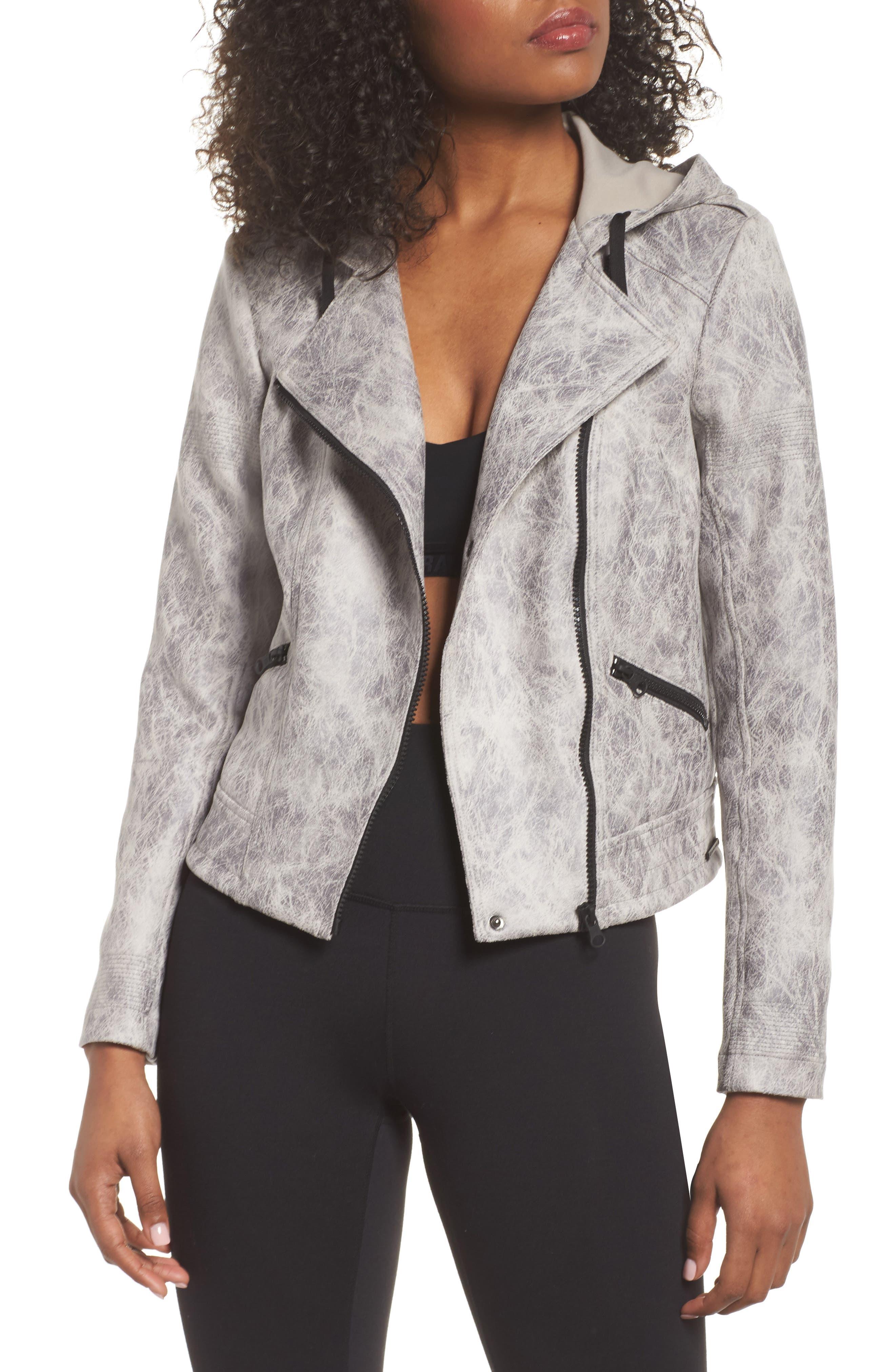 Blanc Noir Hooded Faux Leather Moto Jacket