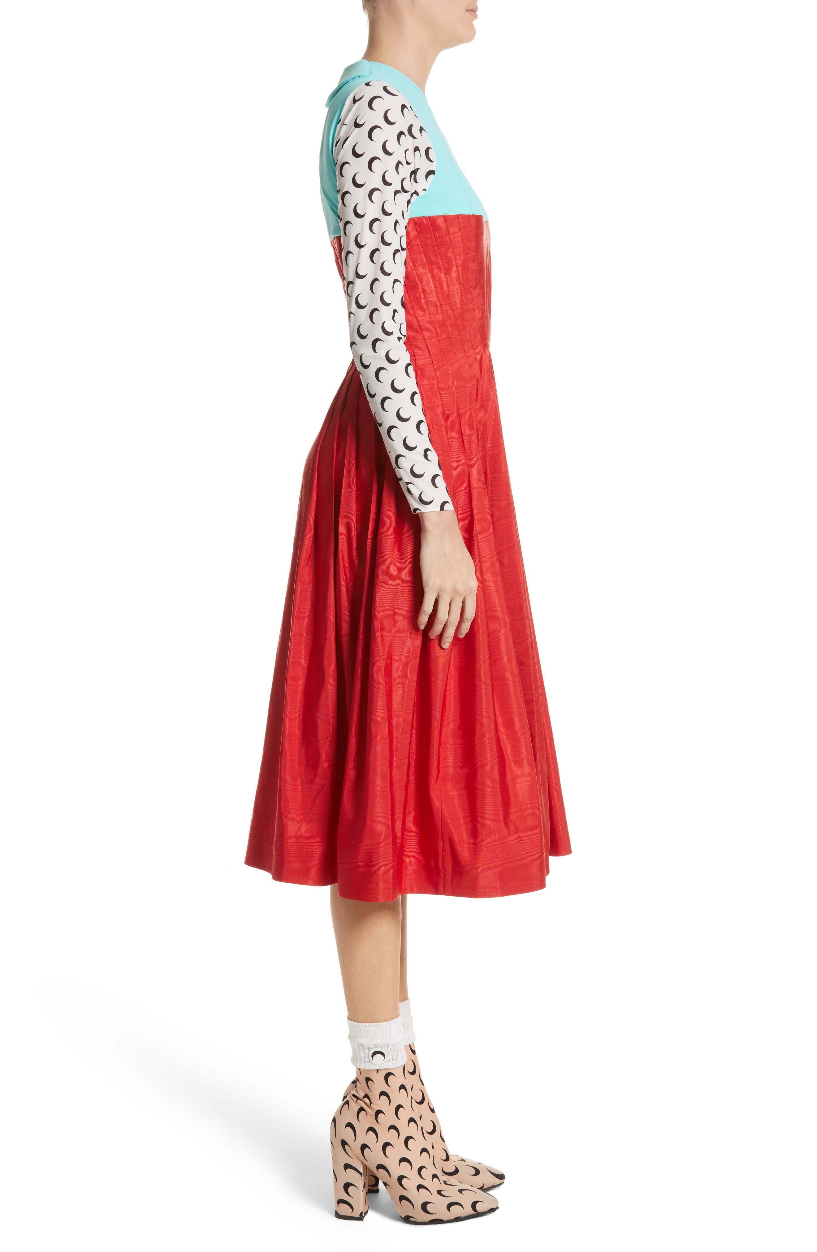 Hybrid Moiré Dress,                             Alternate thumbnail 3, color,                             Turquoise/ Red