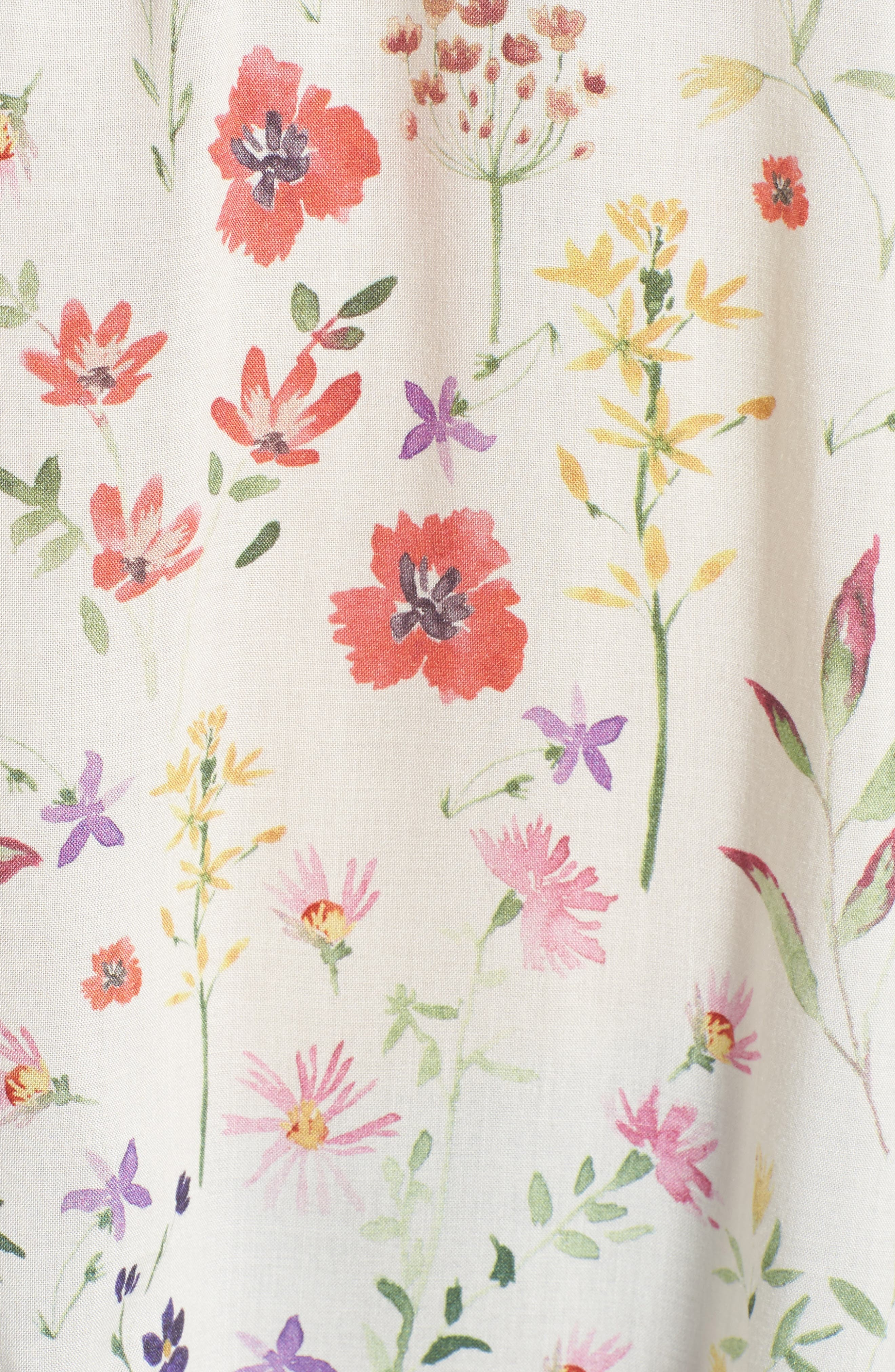 Spring Floral Peasant Top,                             Alternate thumbnail 6, color,                             White Multi