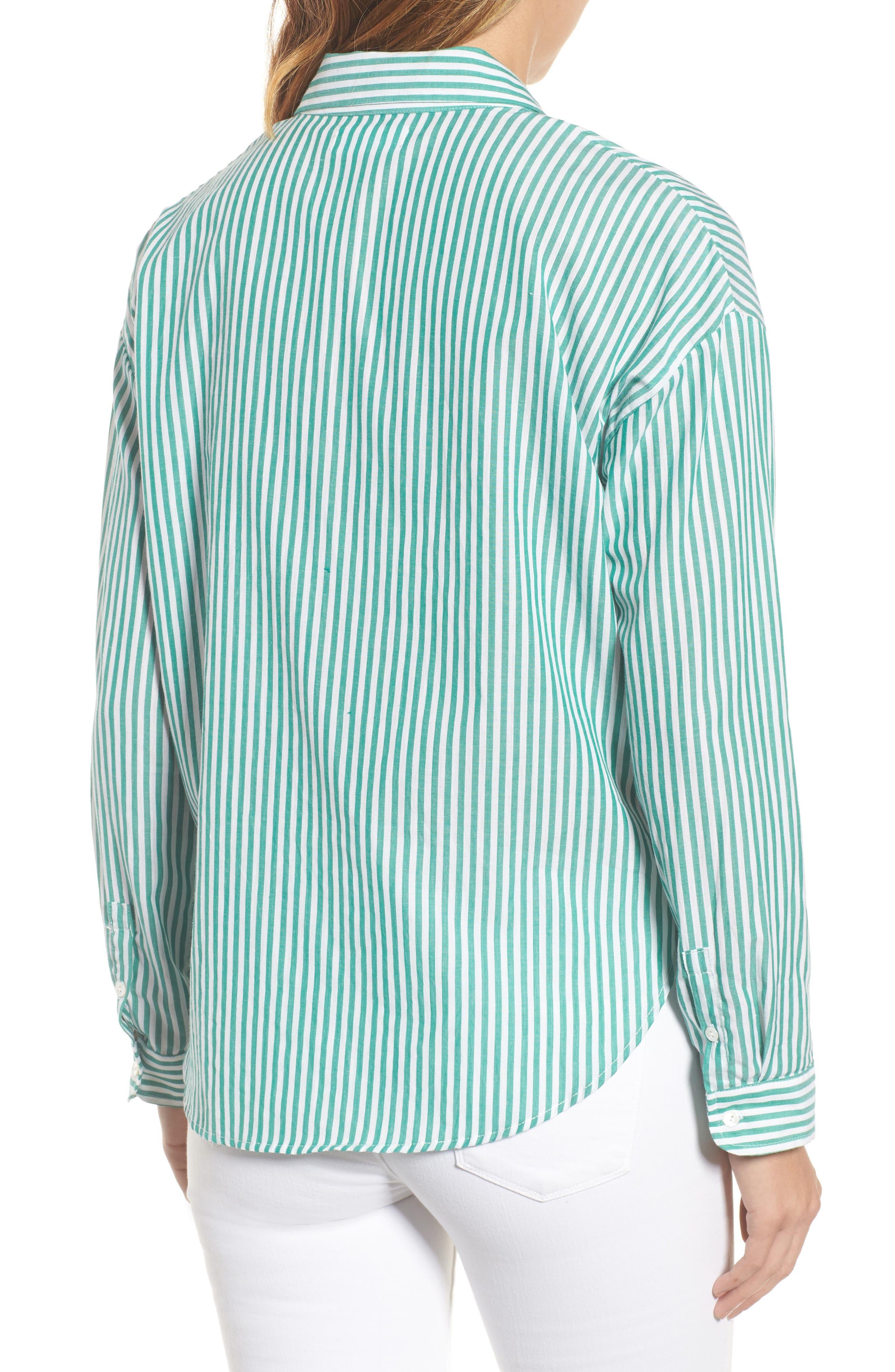 Popover Stripe Cotton Shirt,                             Alternate thumbnail 3, color,                             Green