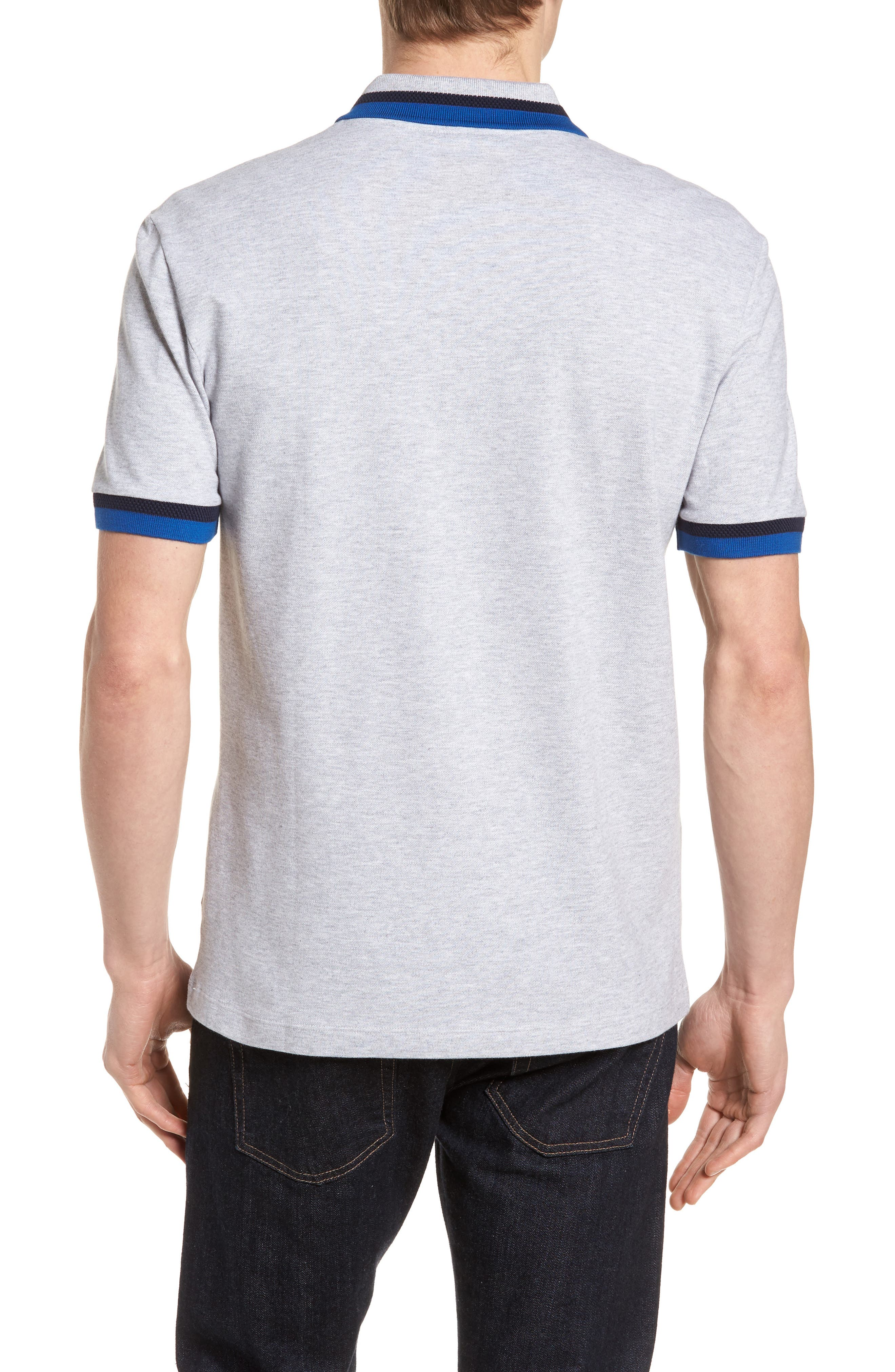 Slim Fit Contrast Stretch Cotton Piqué Polo,                             Alternate thumbnail 2, color,                             Silver Chine/ Navy Blue-El