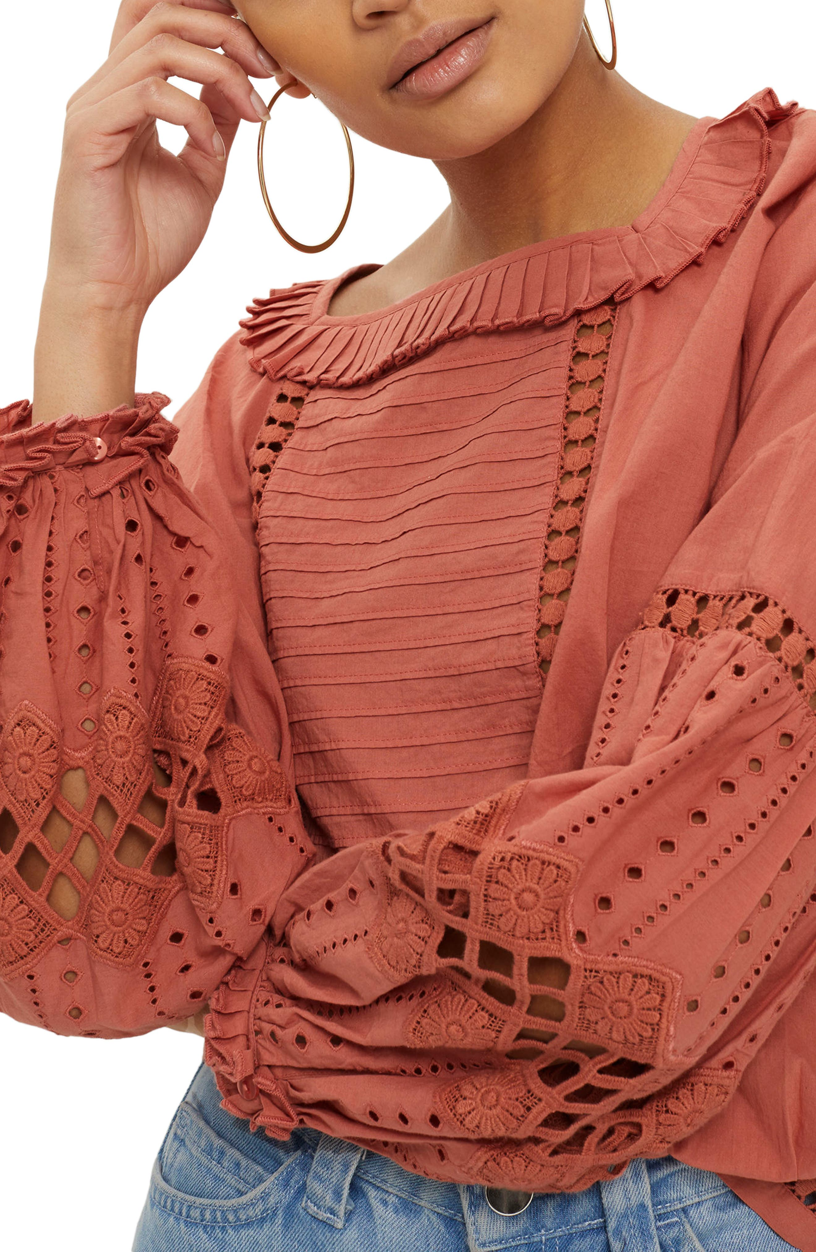 Cutwork Balloon Sleeve Blouse,                         Main,                         color, Dusty Pink