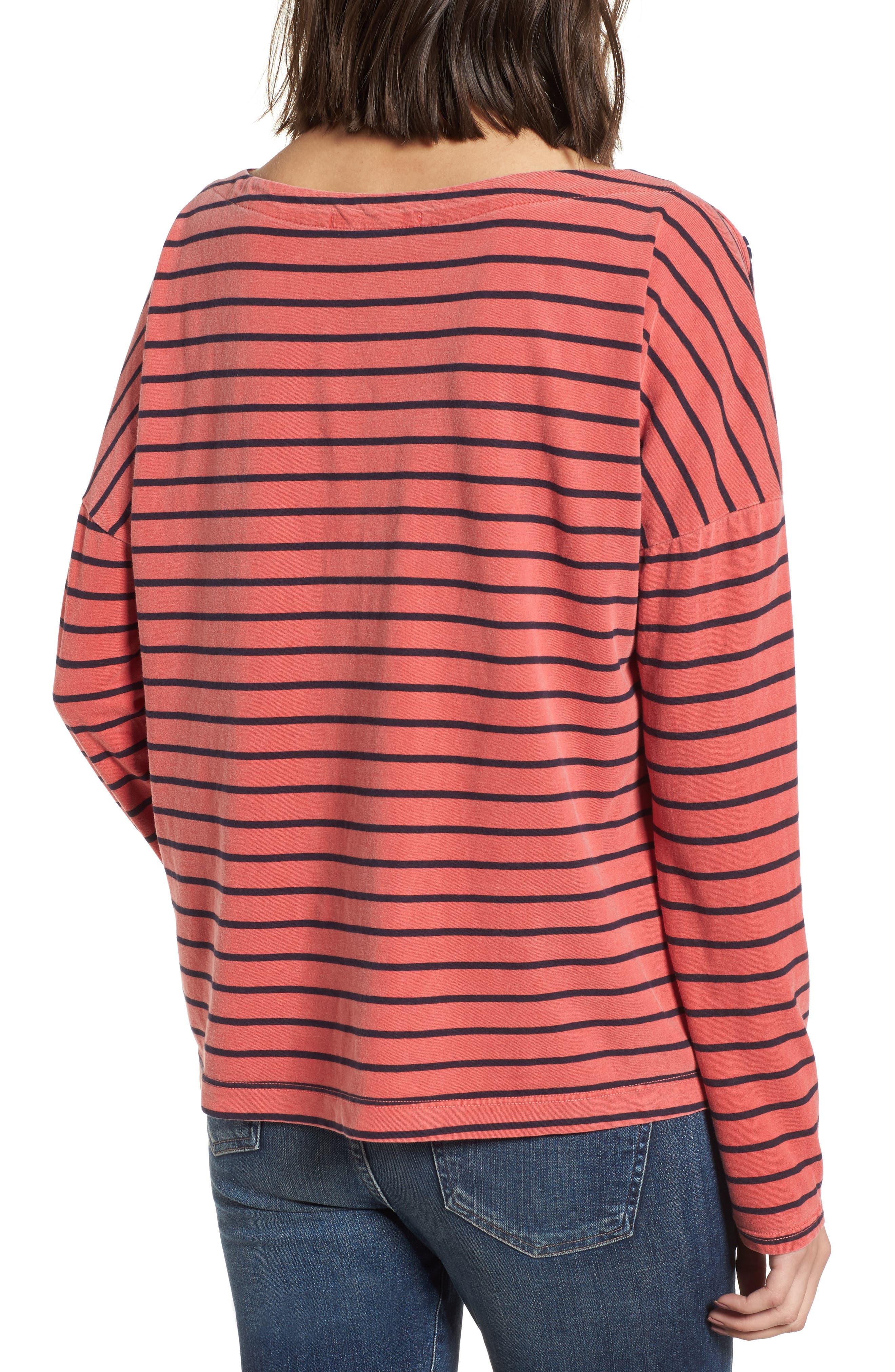 Stripe Button Tee,                             Alternate thumbnail 2, color,                             Chili