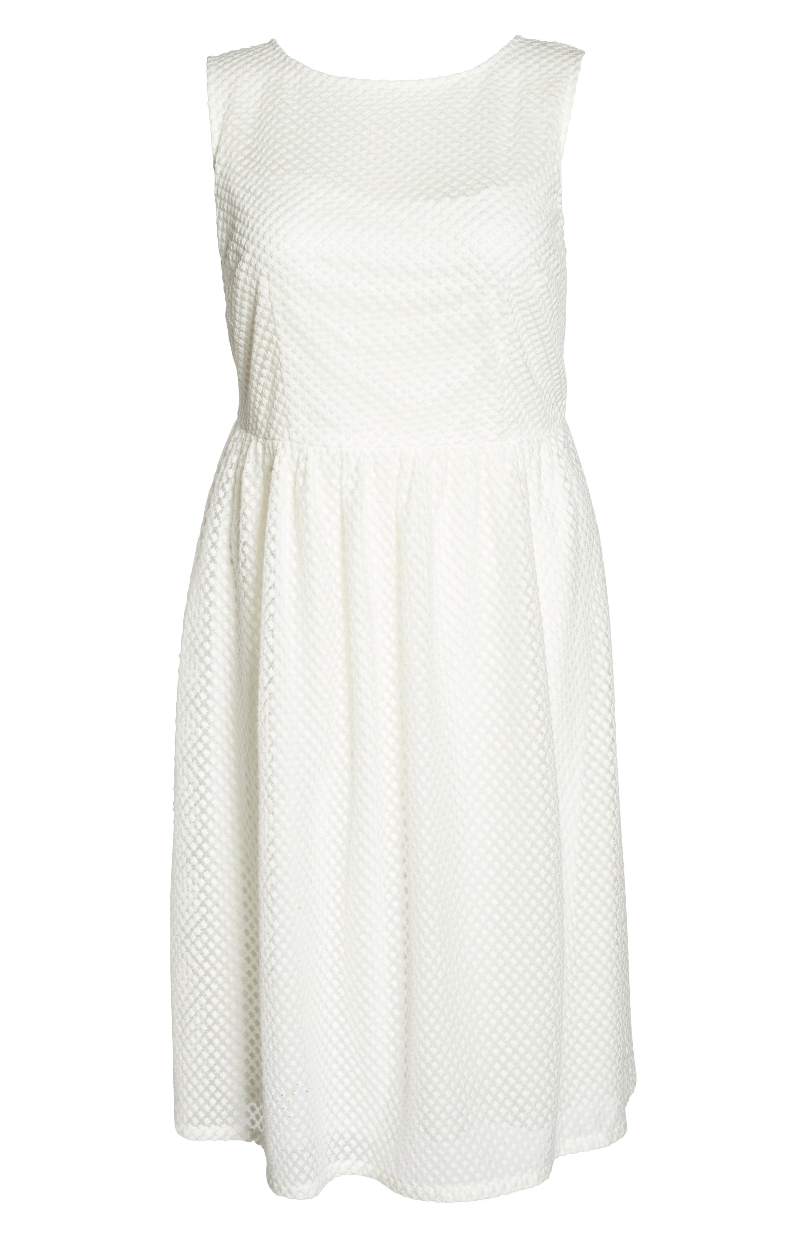 Adrianne Papell Diamond Embroidered Fit & Flare Dress,                             Alternate thumbnail 6, color,                             Ivory