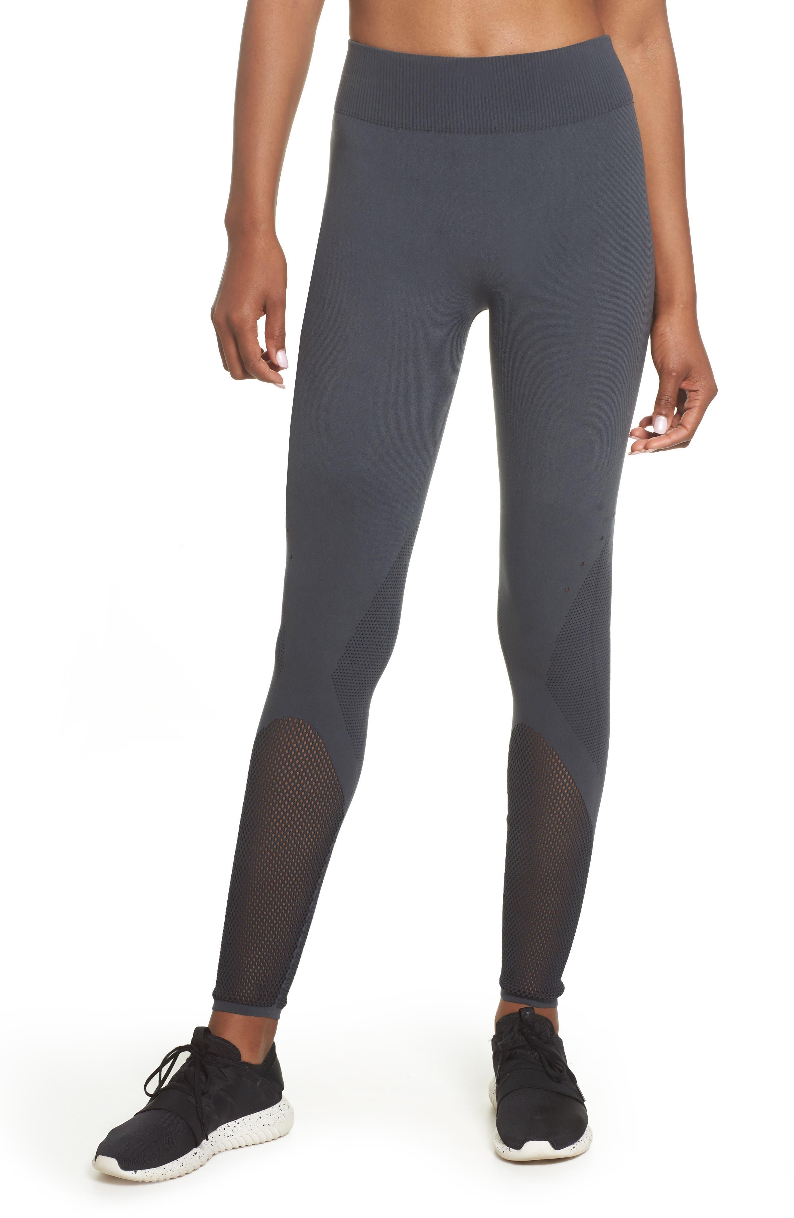 Warp Climacool<sup>®</sup> Knit Tights,                             Main thumbnail 1, color,                             Carbon/ Black