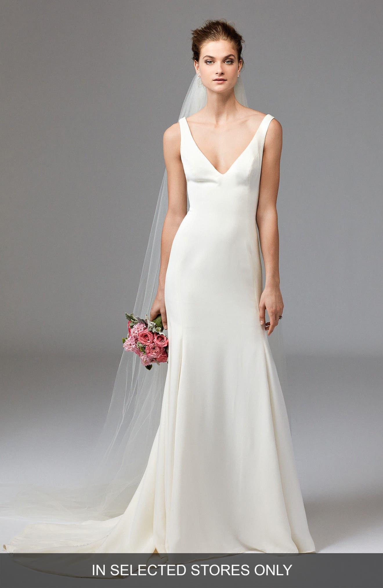 Leona Sleeveless Silk Gown,                         Main,                         color, Ivory