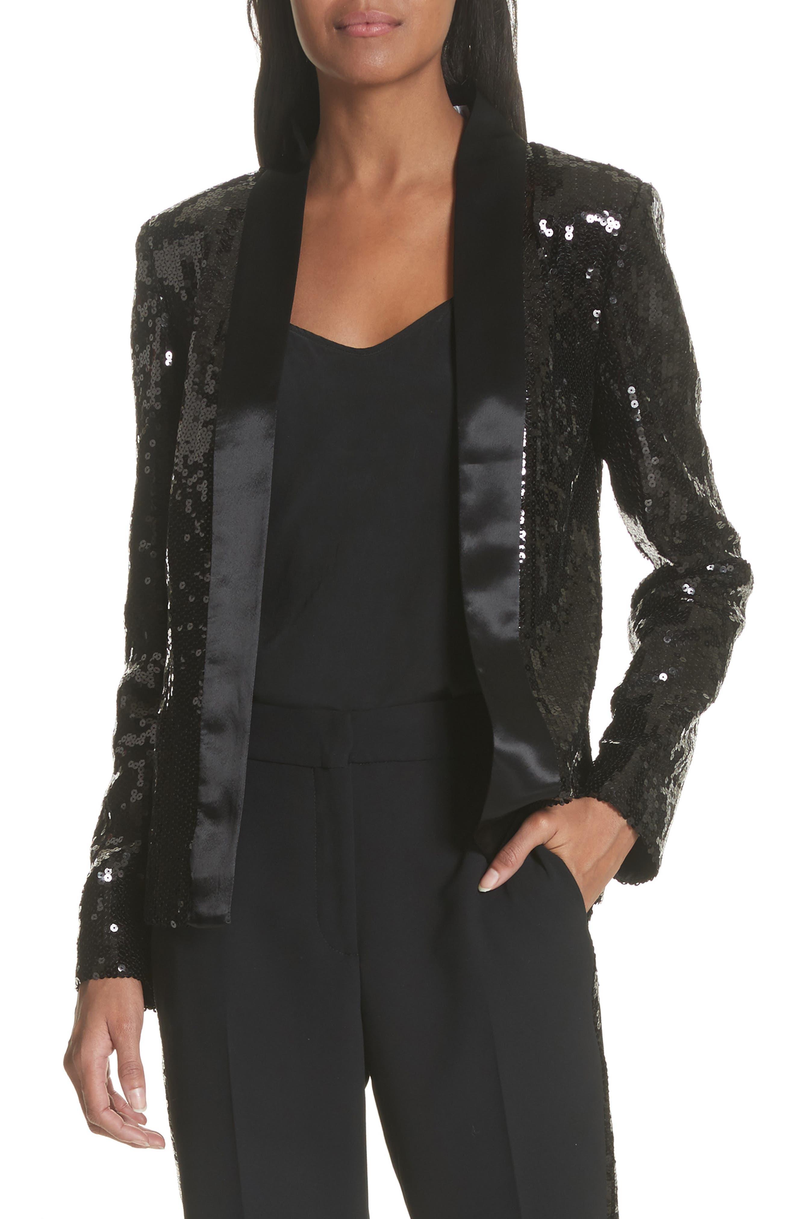 Sequin Tuxedo Jacket,                         Main,                         color, Black