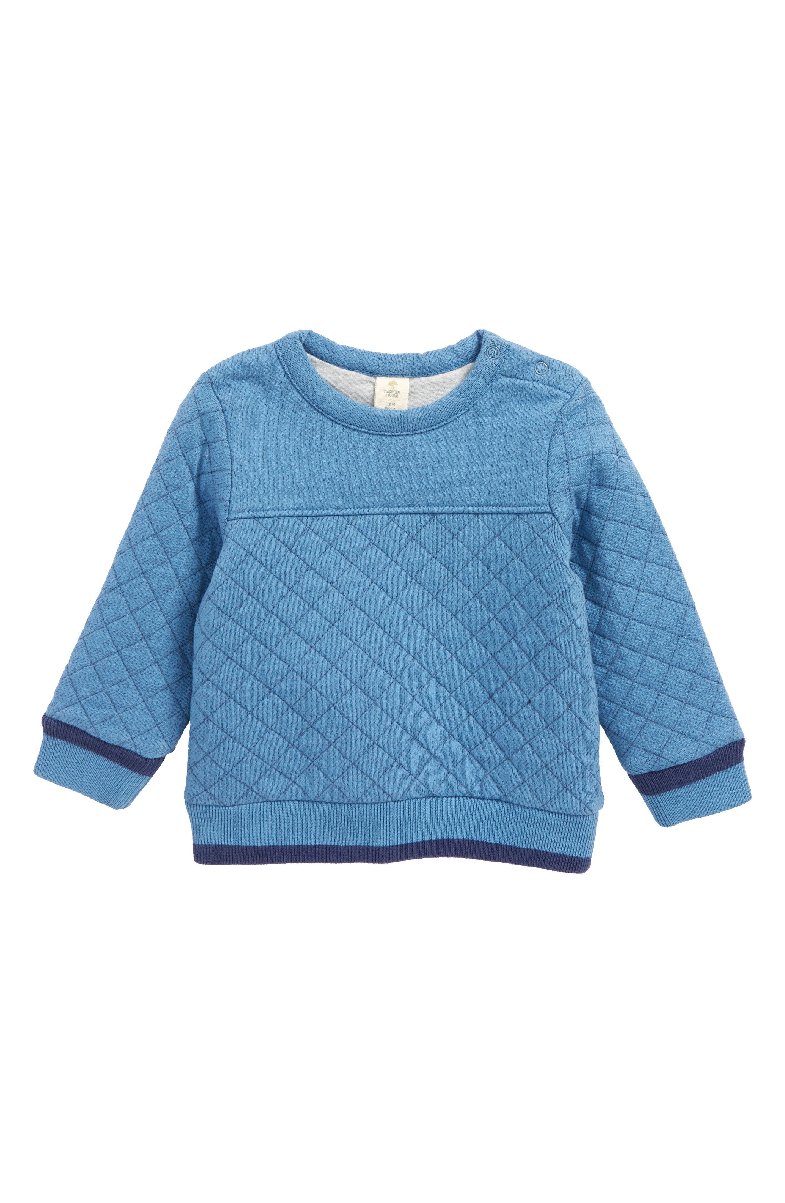Quilted Pullover,                         Main,                         color, Blue Chambray