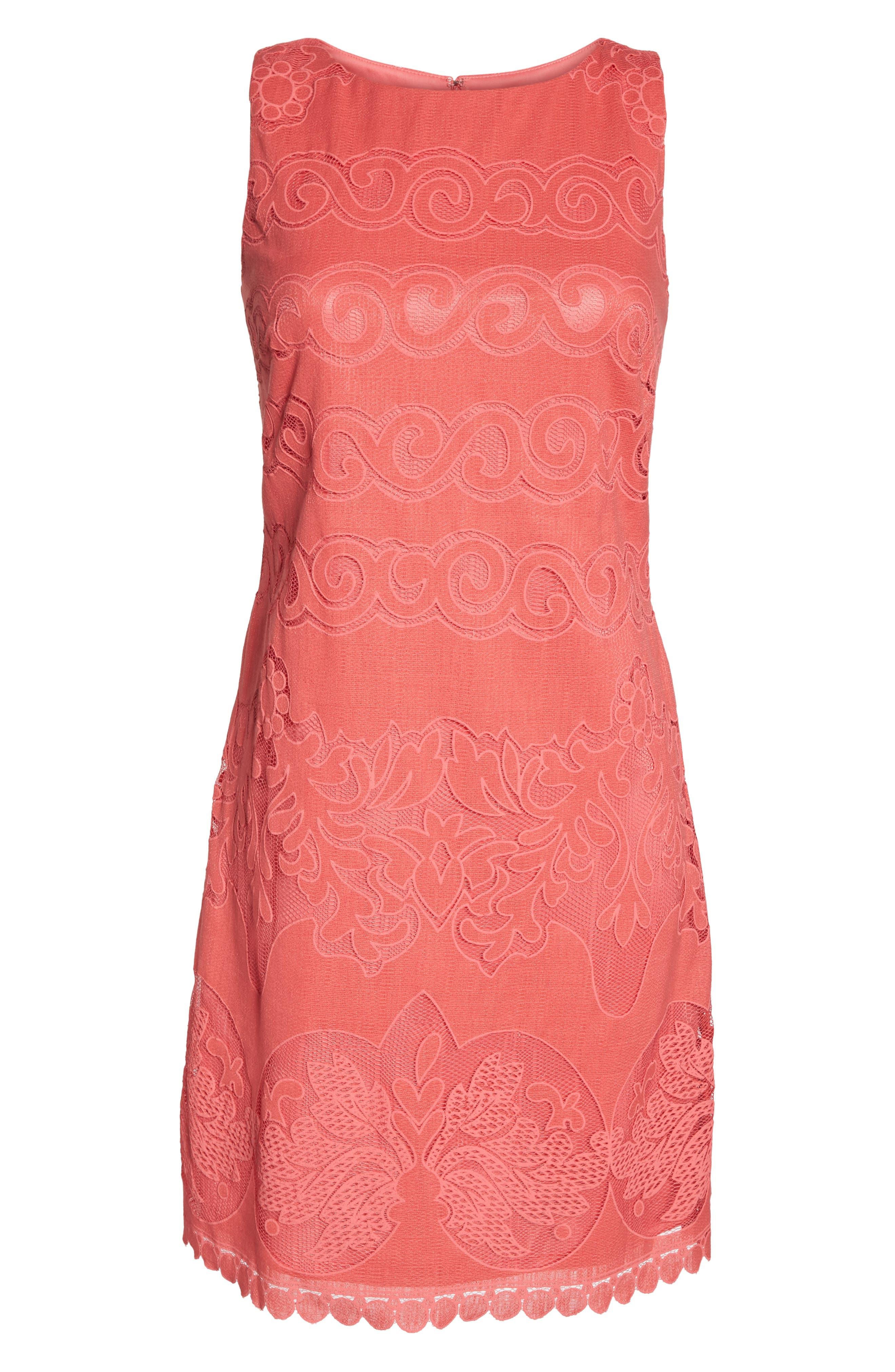 Sleeveless Scallop Hem Sheath Dress,                             Alternate thumbnail 6, color,                             Coral