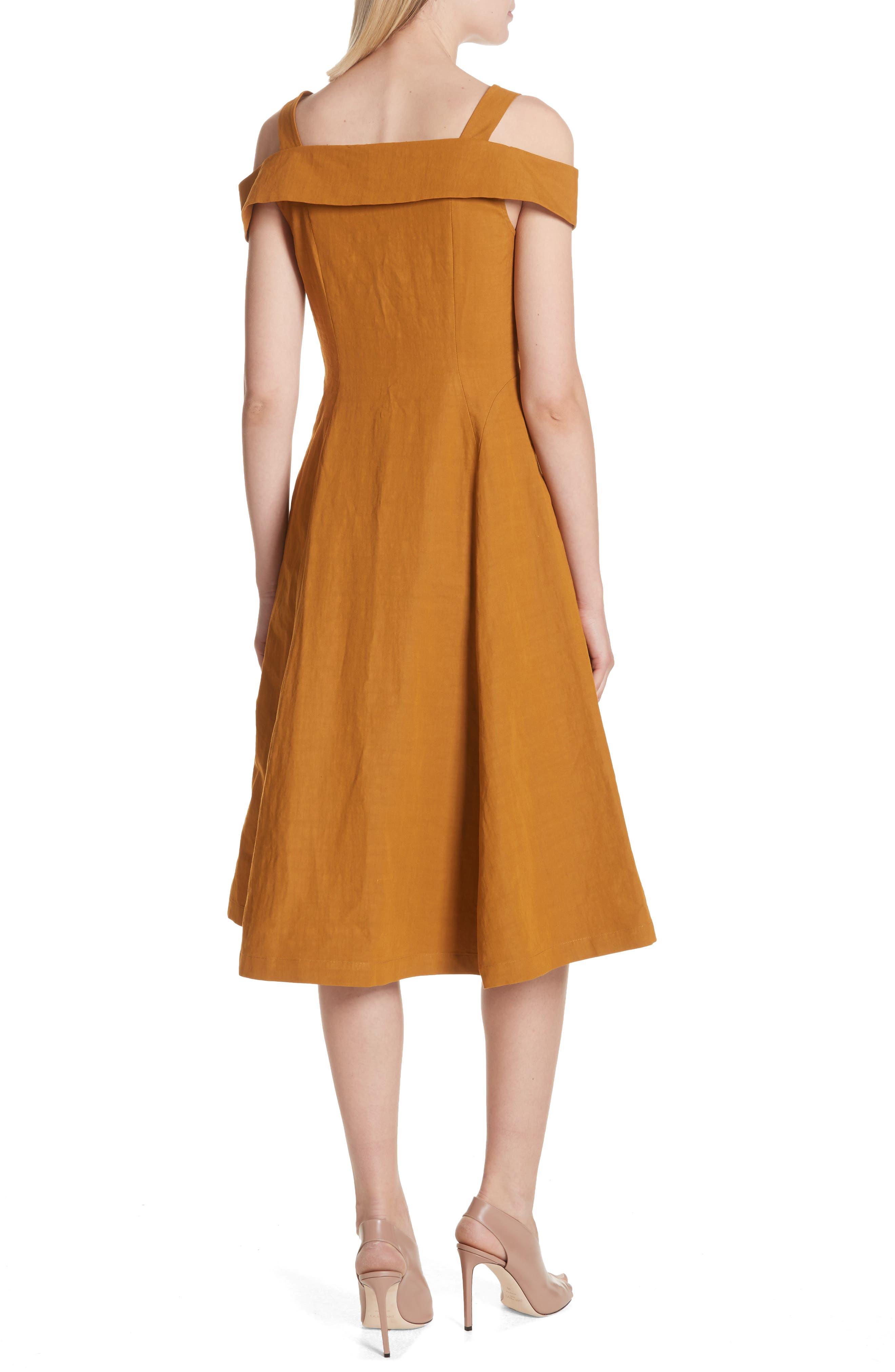 Hudson Cold Shoulder Dress,                             Alternate thumbnail 2, color,                             Gold